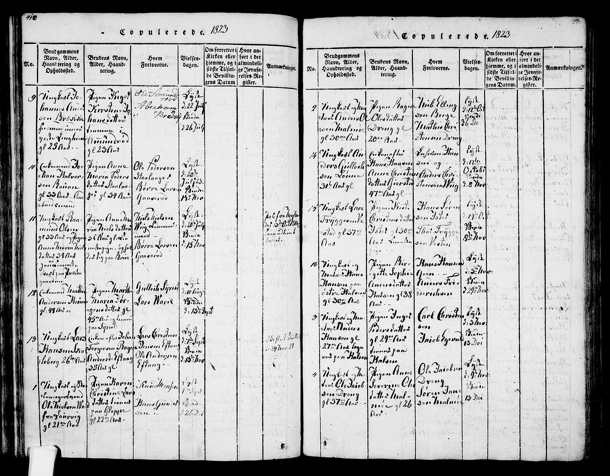 SAKO, Tjølling kirkebøker, F/Fa/L0005: Ministerialbok nr. 5, 1814-1836, s. 410-411