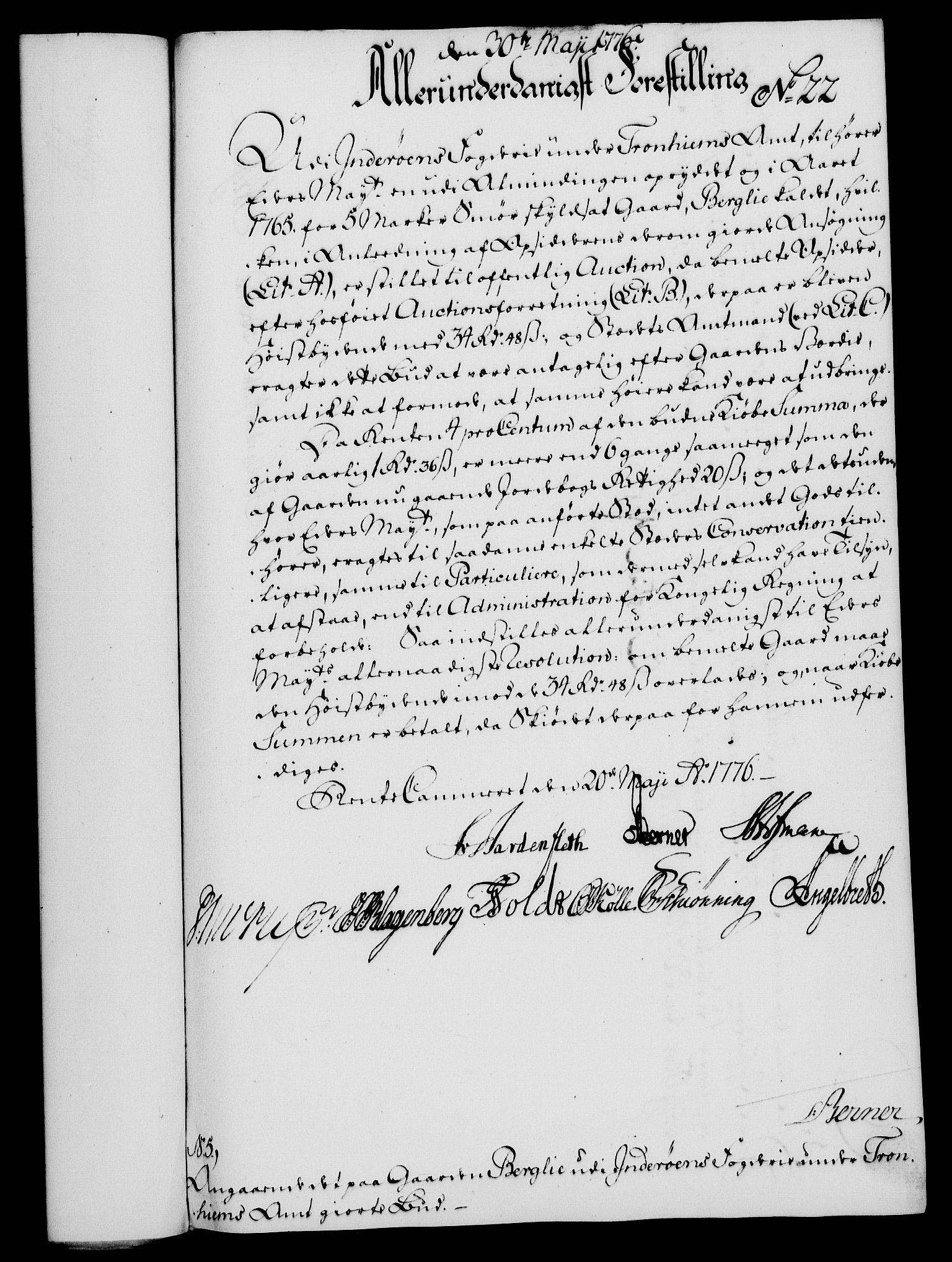 RA, Rentekammeret, Kammerkanselliet, G/Gf/Gfa/L0058: Norsk relasjons- og resolusjonsprotokoll (merket RK 52.58), 1776, s. 104