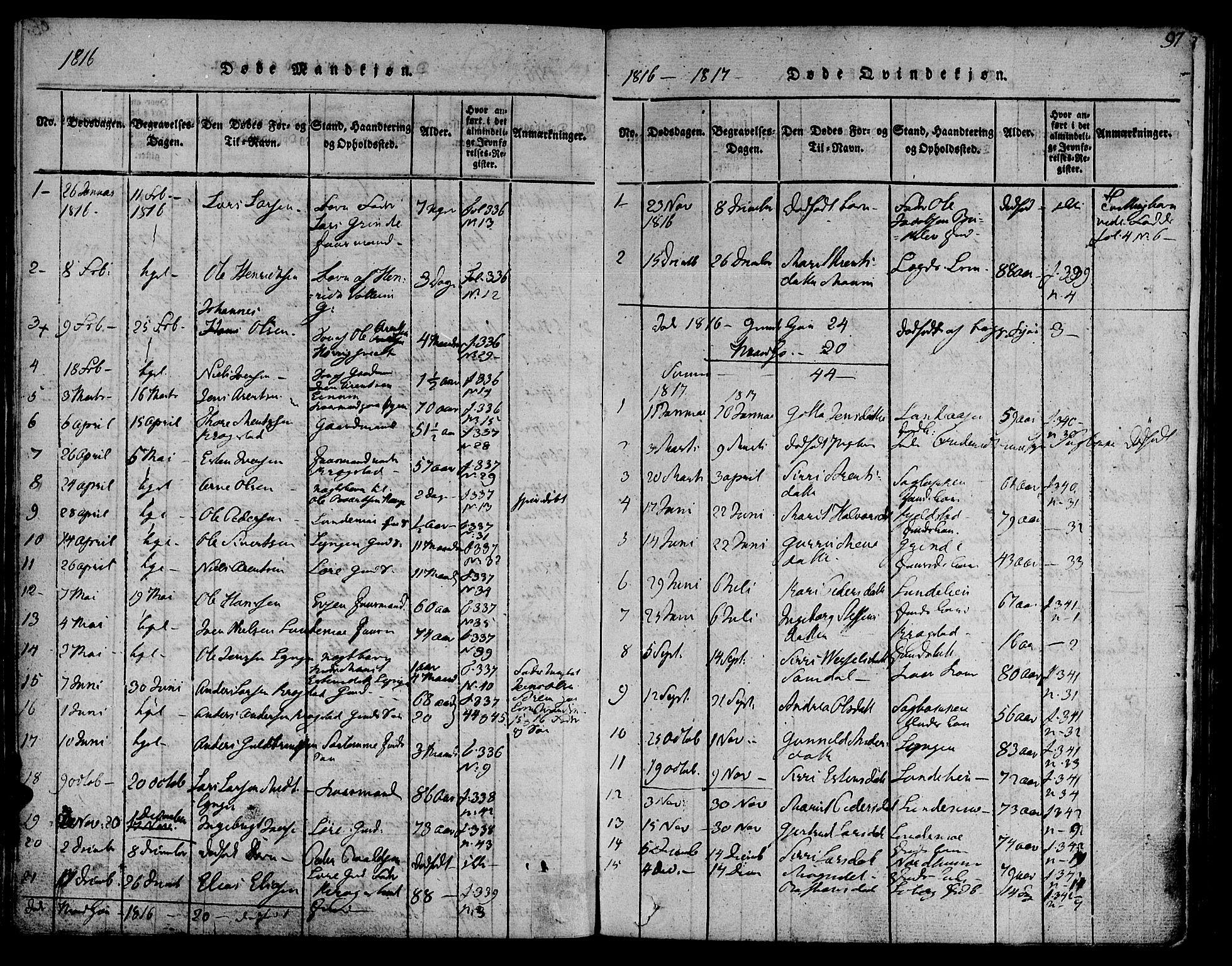 SAT, Ministerialprotokoller, klokkerbøker og fødselsregistre - Sør-Trøndelag, 692/L1102: Ministerialbok nr. 692A02, 1816-1842, s. 97