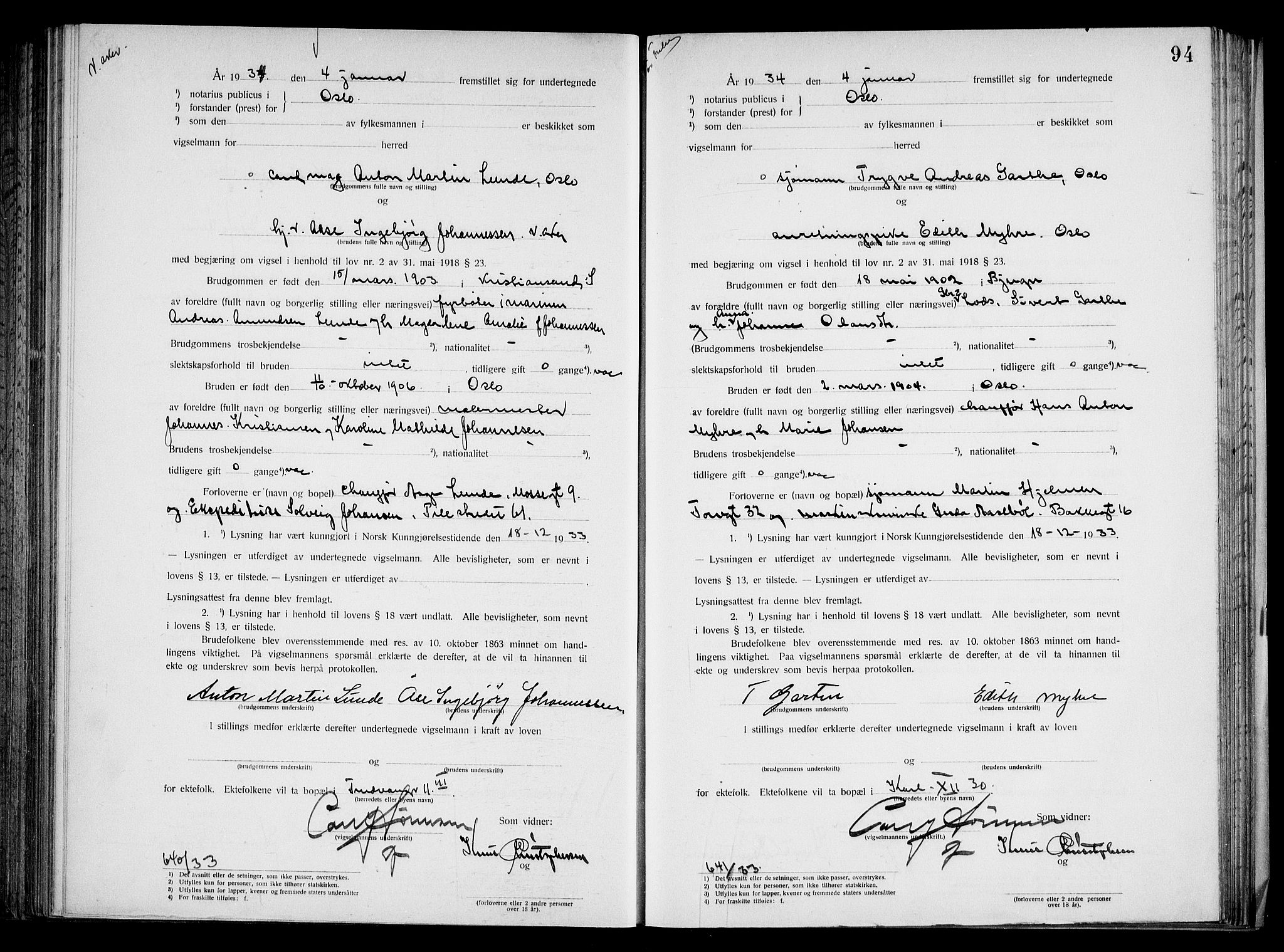 SAO, Oslo byfogd avd. I, L/Lb/Lbb/L0023: Notarialprotokoll, rekke II: Vigsler, 1933-1934, s. 93b-94a