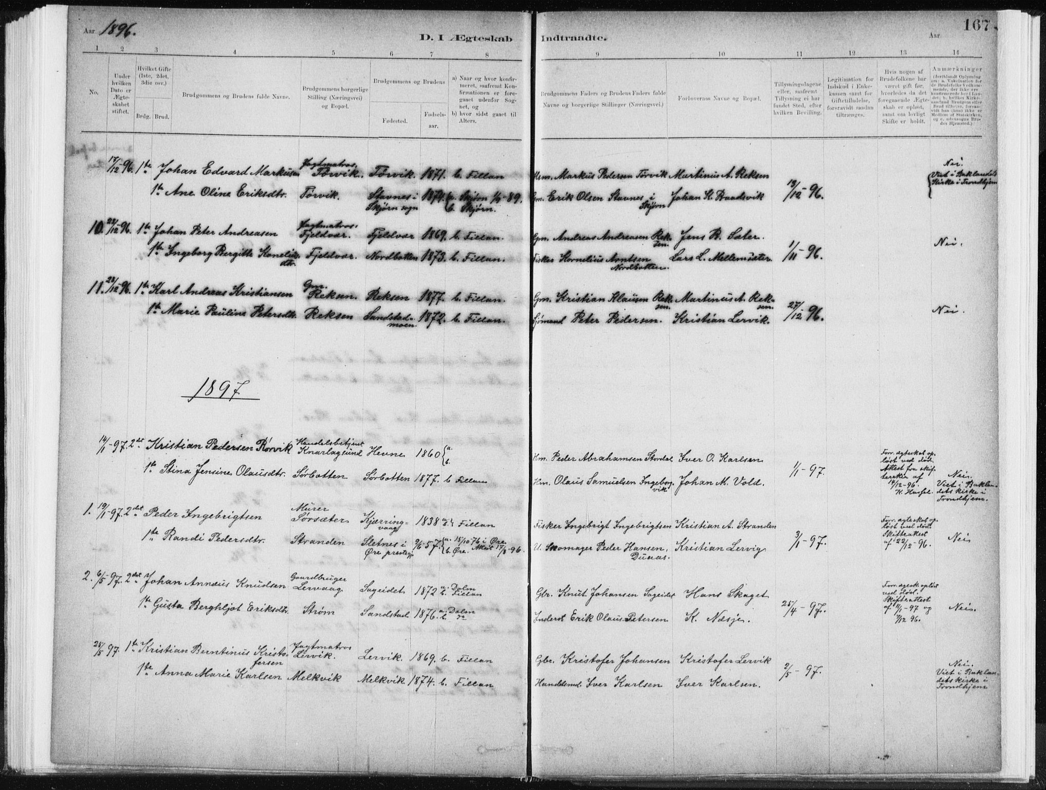 SAT, Ministerialprotokoller, klokkerbøker og fødselsregistre - Sør-Trøndelag, 637/L0558: Ministerialbok nr. 637A01, 1882-1899, s. 167