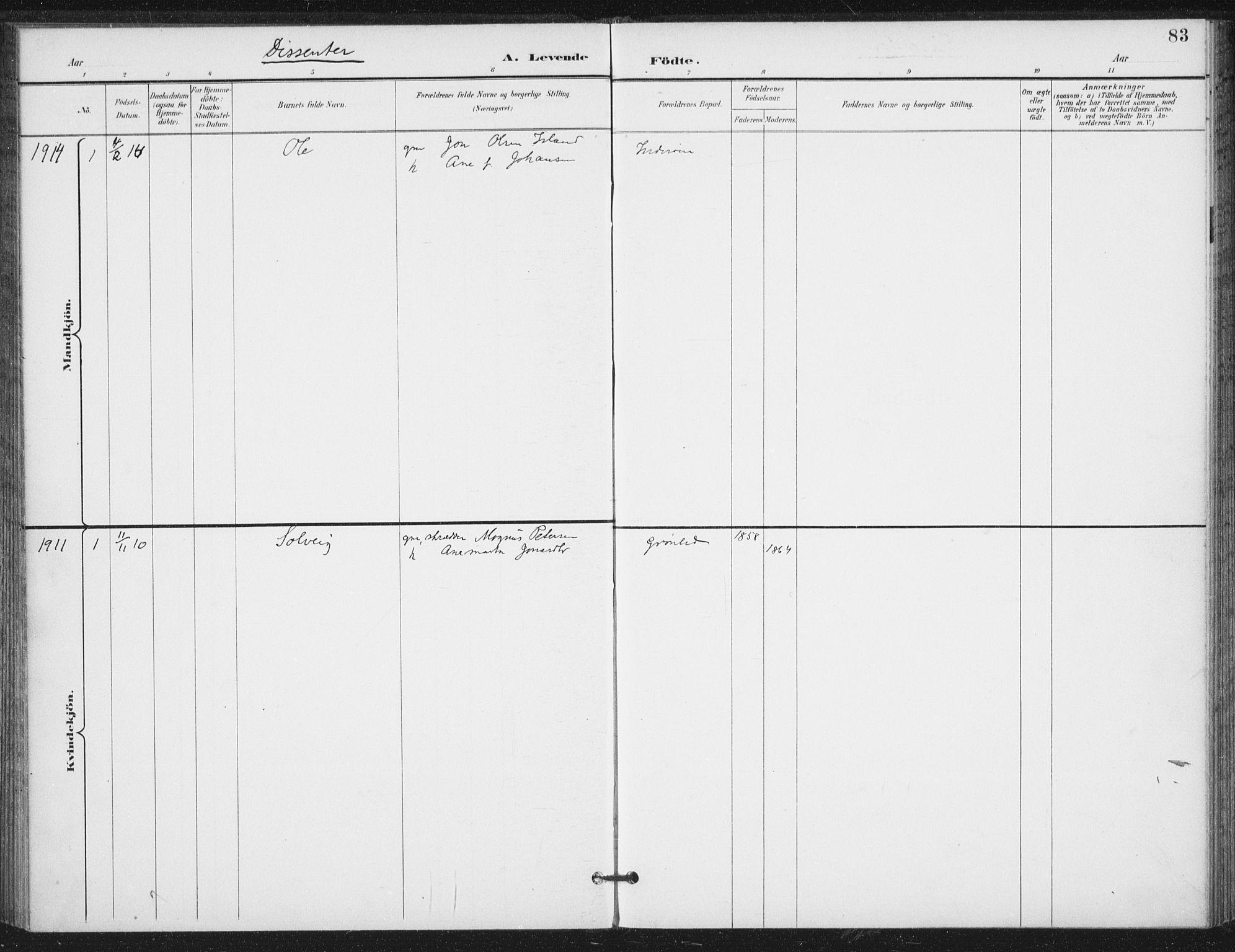 SAT, Ministerialprotokoller, klokkerbøker og fødselsregistre - Nord-Trøndelag, 714/L0131: Ministerialbok nr. 714A02, 1896-1918, s. 83