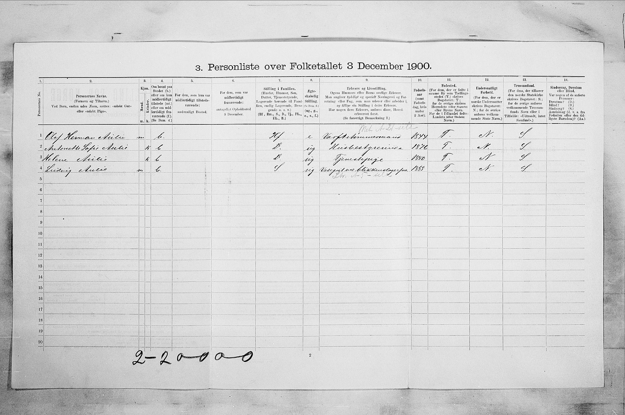 RA, Folketelling 1900 for 0705 Tønsberg kjøpstad, 1900, s. 3681