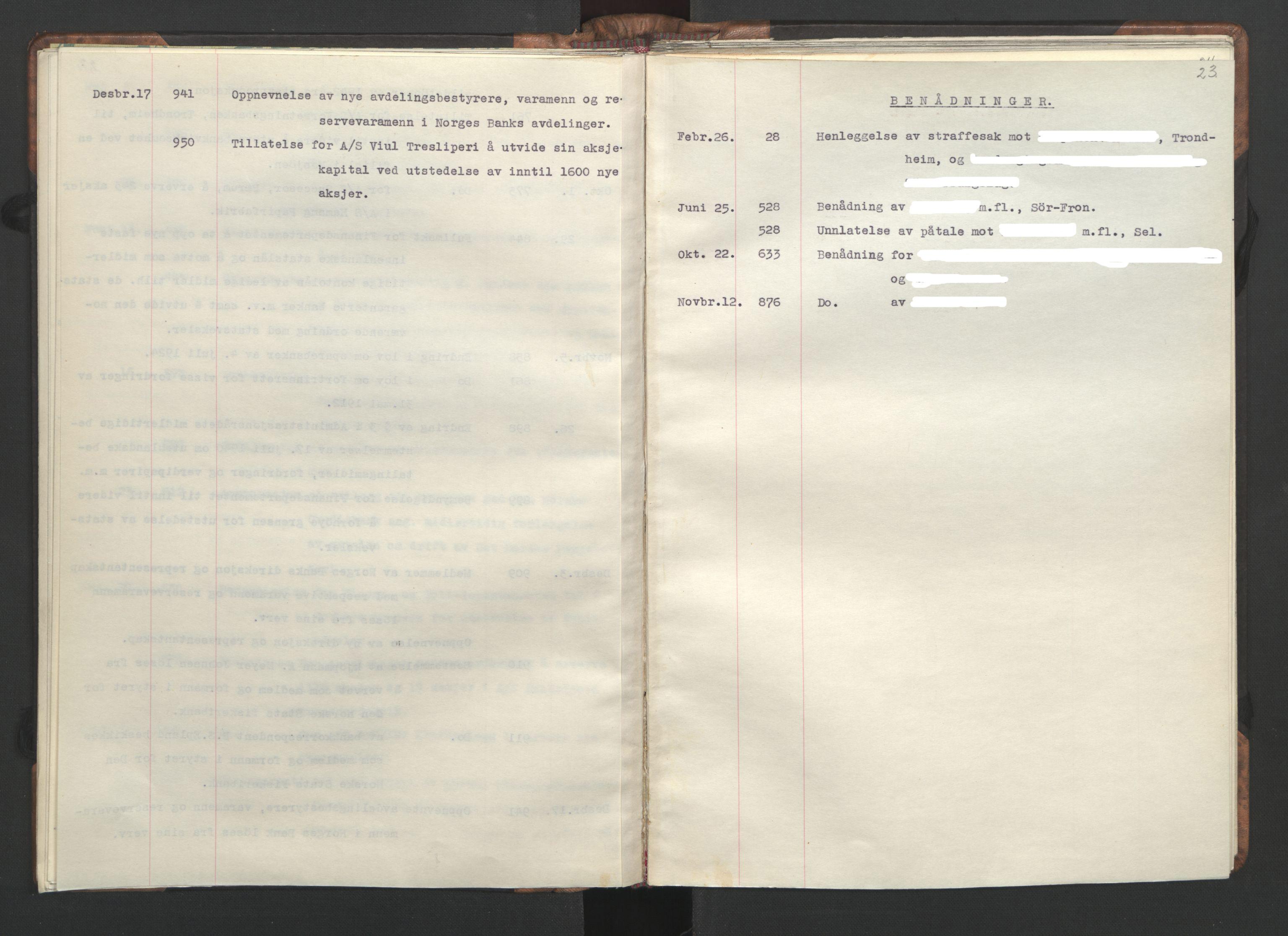 RA, NS-administrasjonen 1940-1945 (Statsrådsekretariatet, de kommisariske statsråder mm), D/Da/L0002: Register (RA j.nr. 985/1943, tilgangsnr. 17/1943), 1942, s. 22b-23a