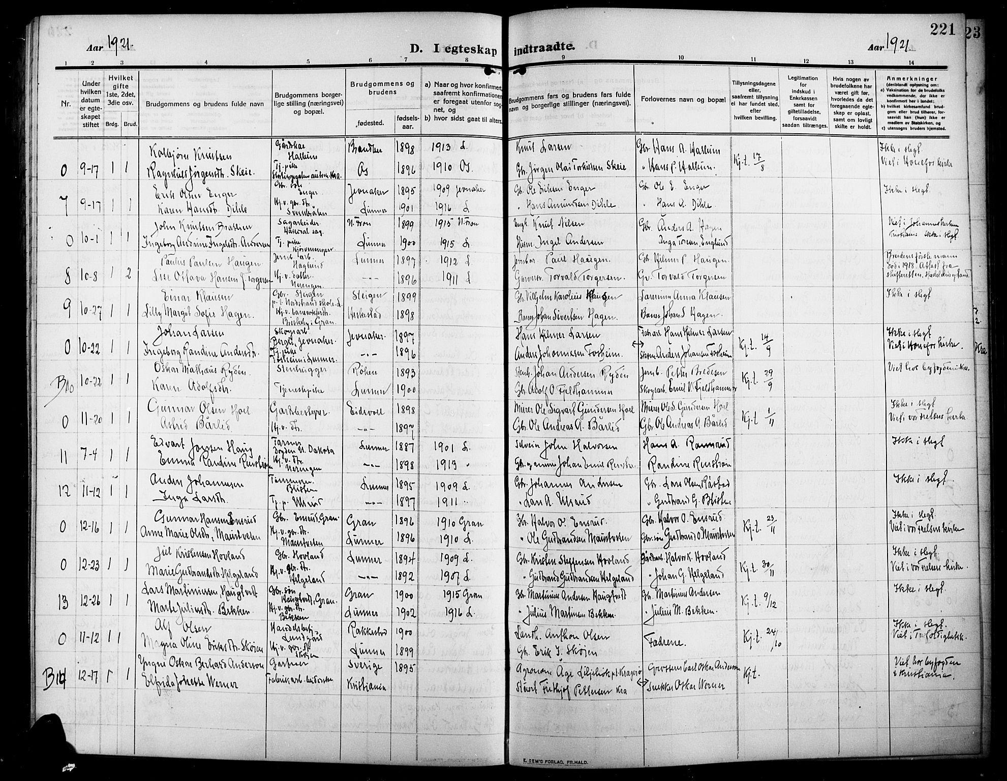 SAH, Lunner prestekontor, H/Ha/Hab/L0001: Klokkerbok nr. 1, 1909-1922, s. 221
