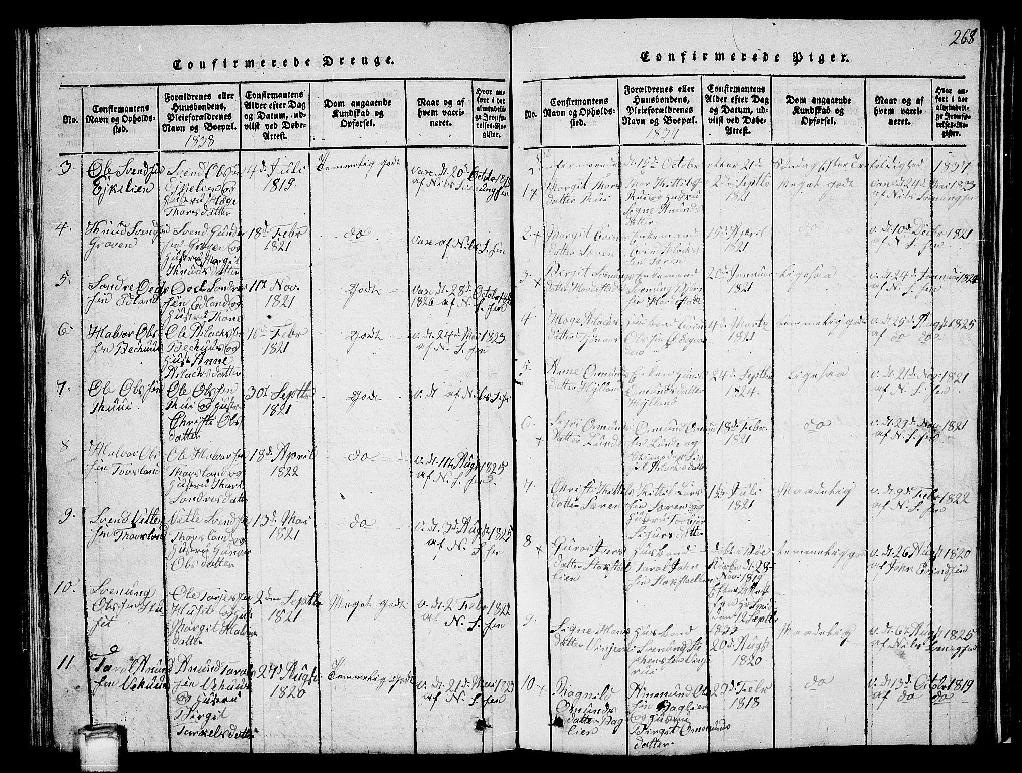 SAKO, Vinje kirkebøker, G/Ga/L0001: Klokkerbok nr. I 1, 1814-1843, s. 268
