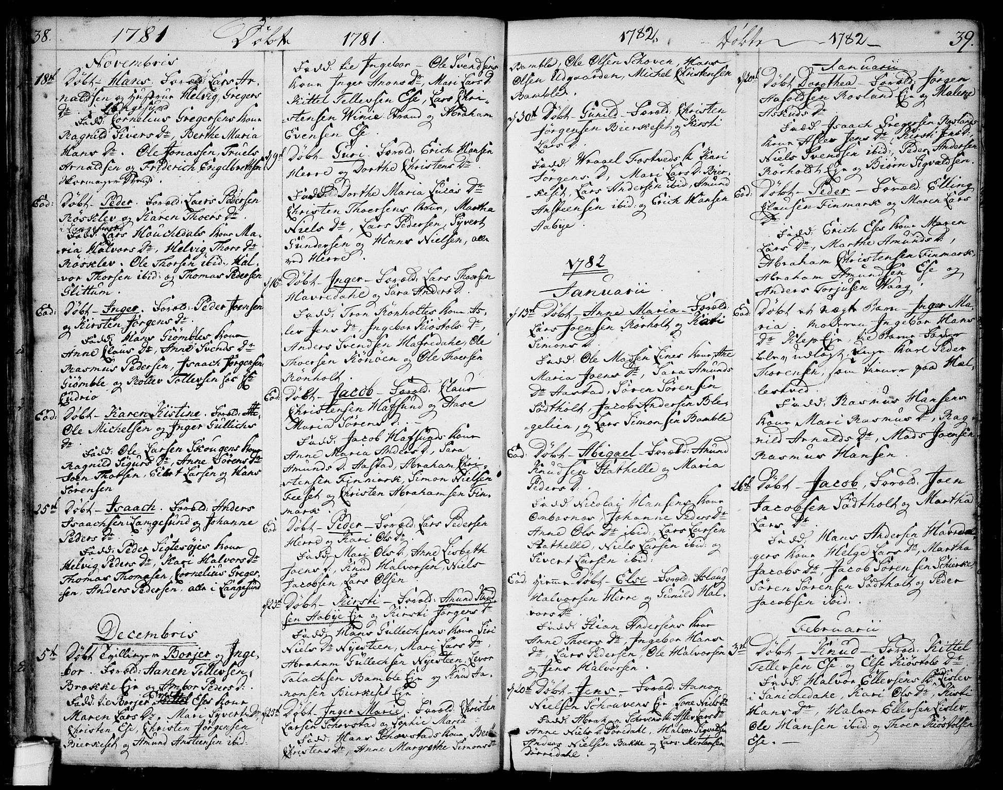 SAKO, Bamble kirkebøker, F/Fa/L0002: Ministerialbok nr. I 2, 1775-1814, s. 38-39
