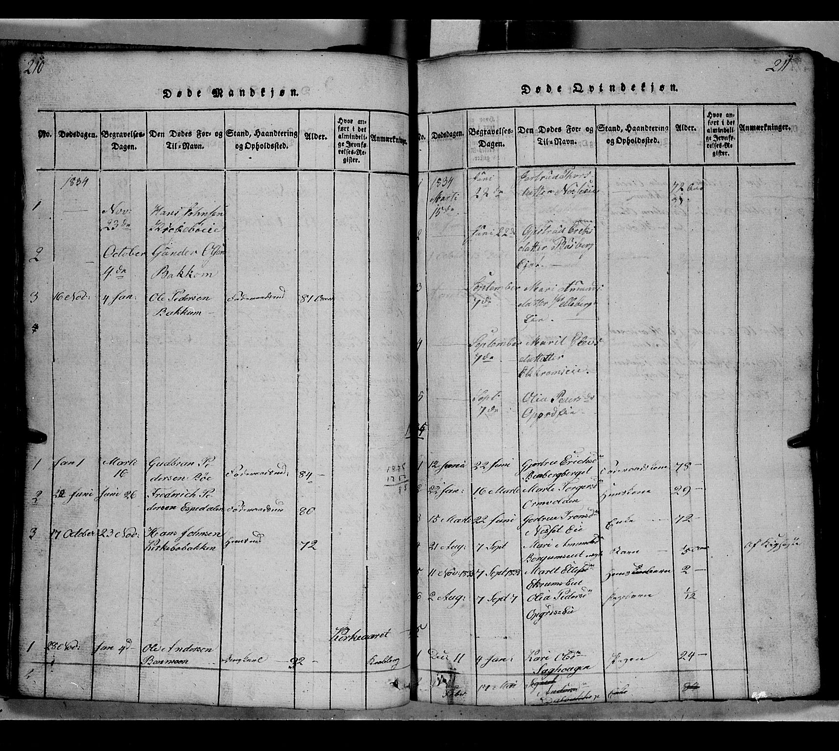 SAH, Gausdal prestekontor, Klokkerbok nr. 2, 1818-1874, s. 210-211