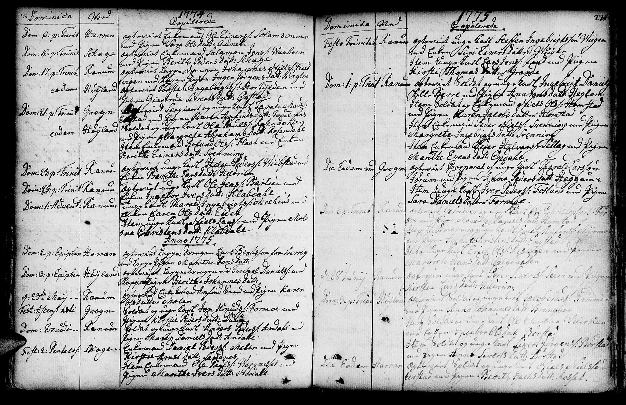 SAT, Ministerialprotokoller, klokkerbøker og fødselsregistre - Nord-Trøndelag, 764/L0542: Ministerialbok nr. 764A02, 1748-1779, s. 274