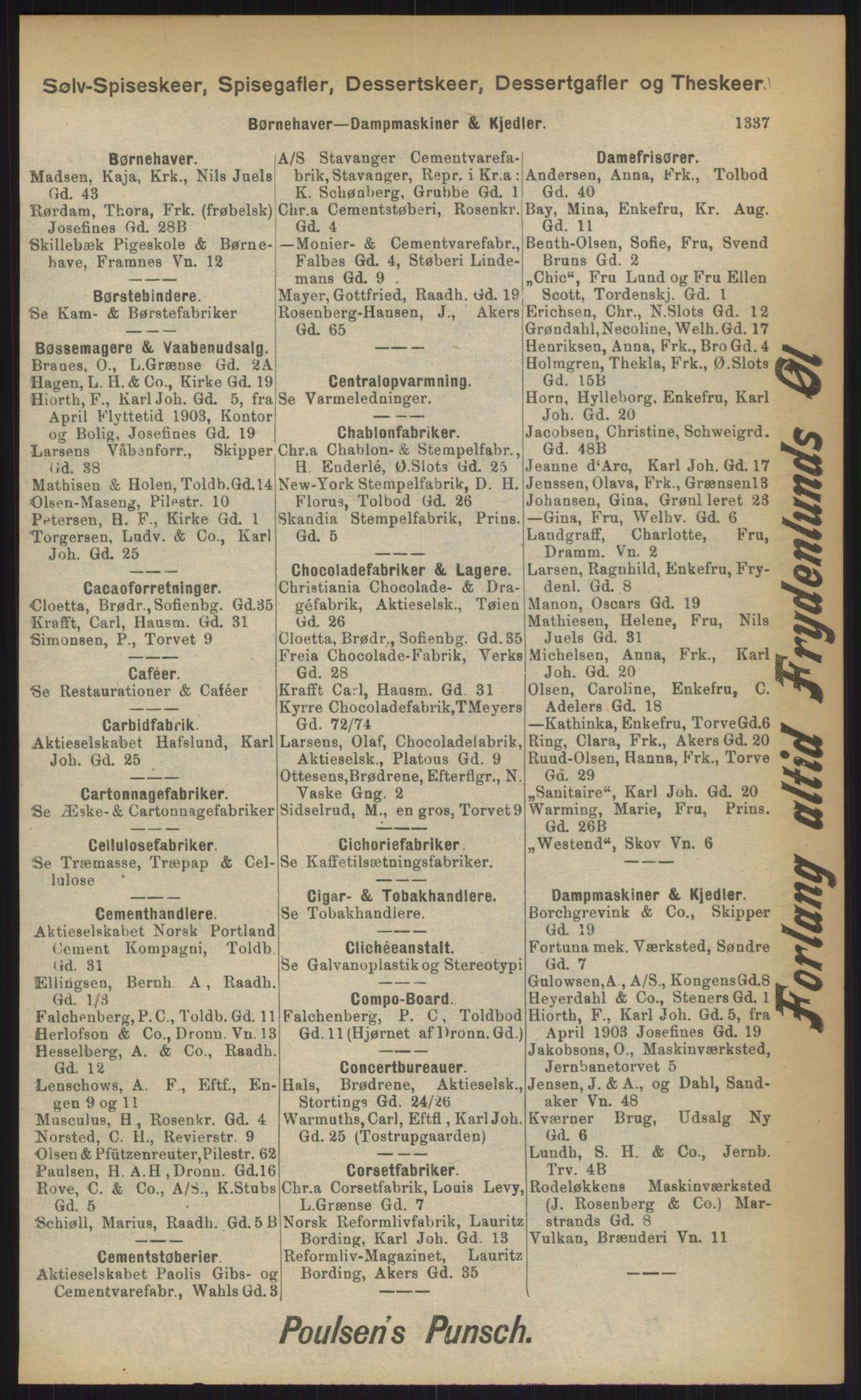 RA, Kristiania adressebok (publikasjon)*, 1903, s. 1337