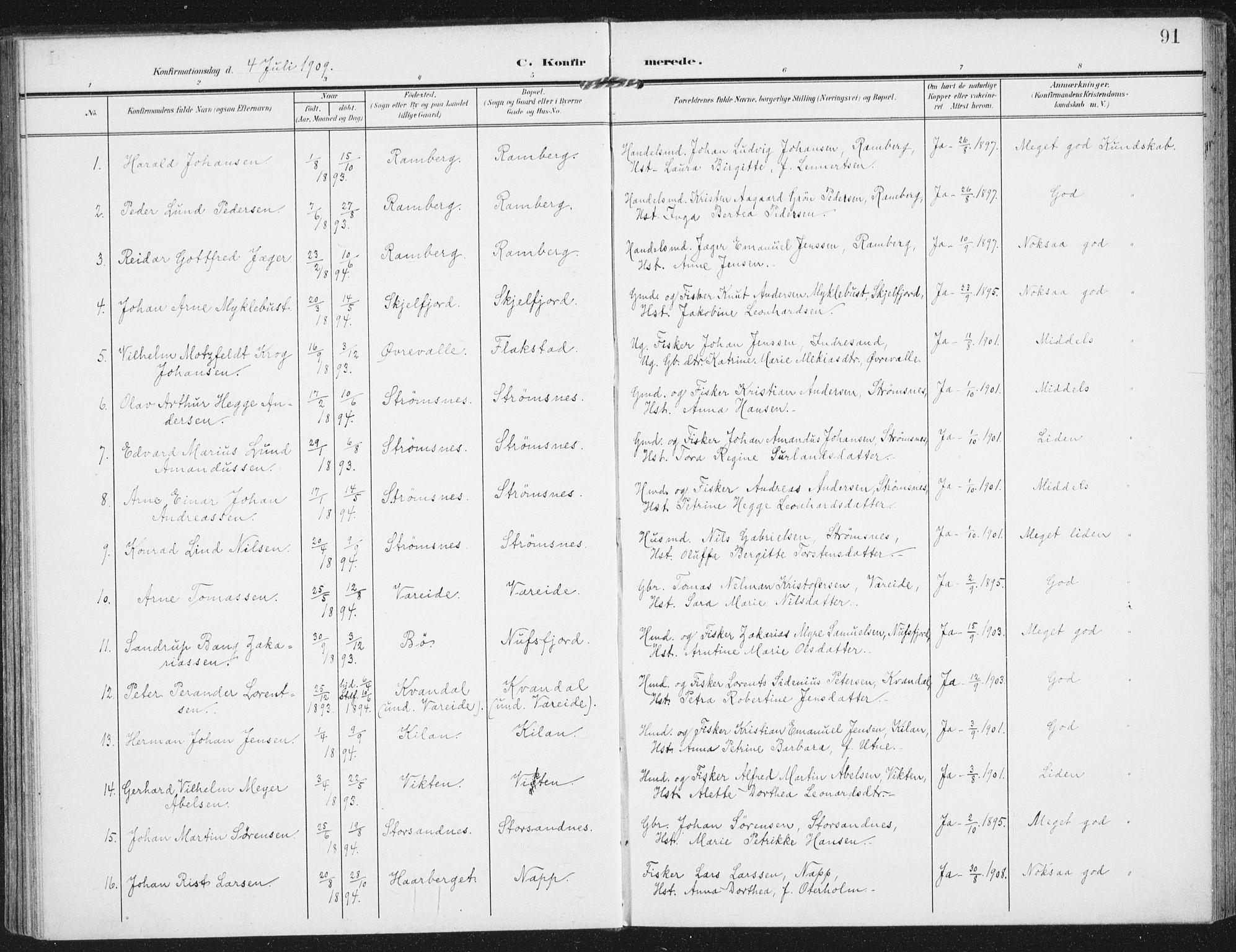 SAT, Ministerialprotokoller, klokkerbøker og fødselsregistre - Nordland, 885/L1206: Ministerialbok nr. 885A07, 1905-1915, s. 91