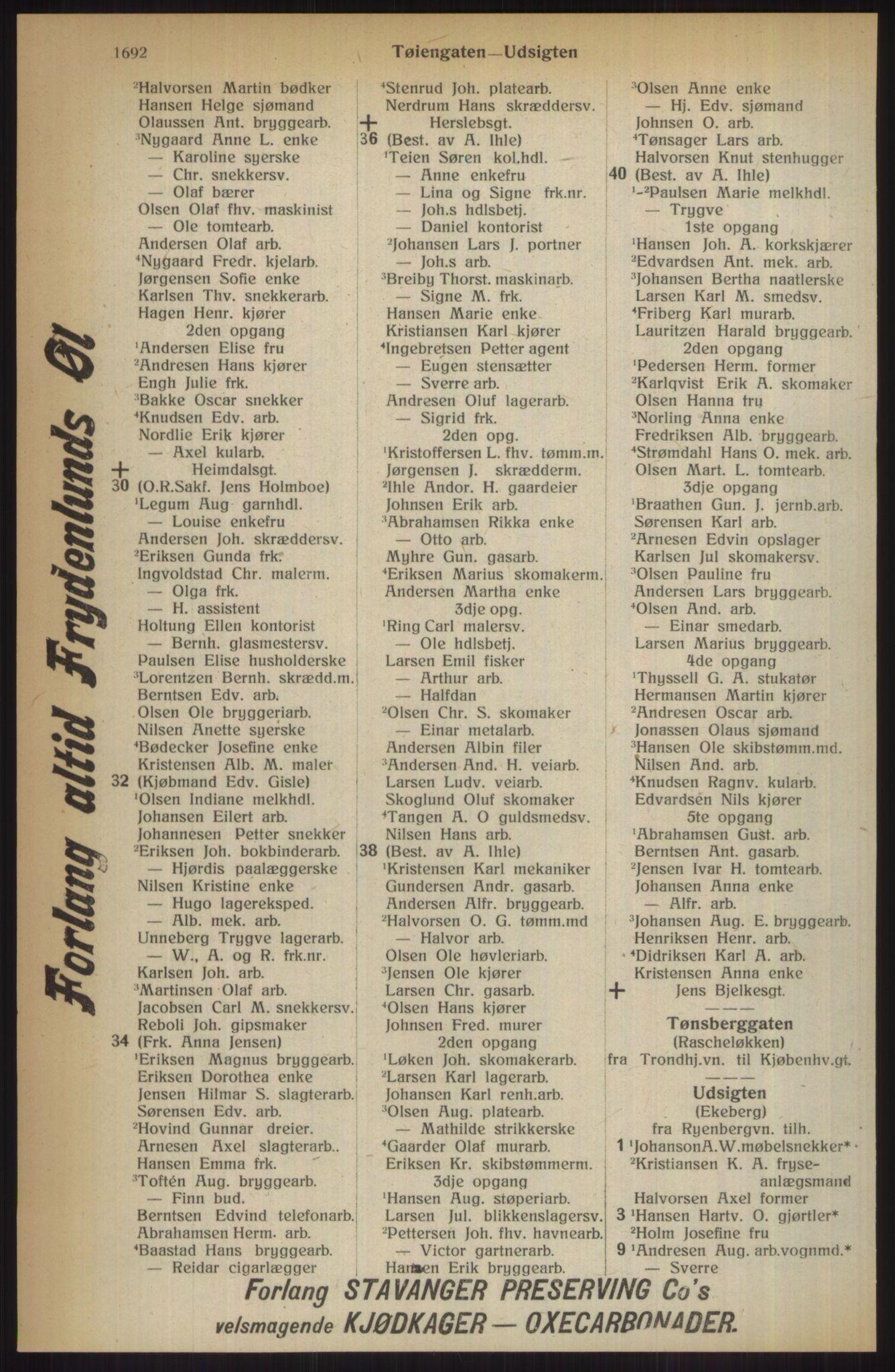 RA, Kristiania adressebok (publikasjon)*, 1914, s. 1692