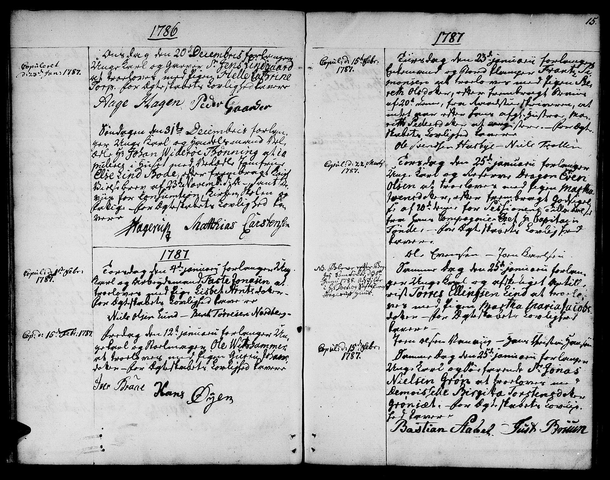 SAT, Ministerialprotokoller, klokkerbøker og fødselsregistre - Sør-Trøndelag, 601/L0041: Ministerialbok nr. 601A09, 1784-1801, s. 15