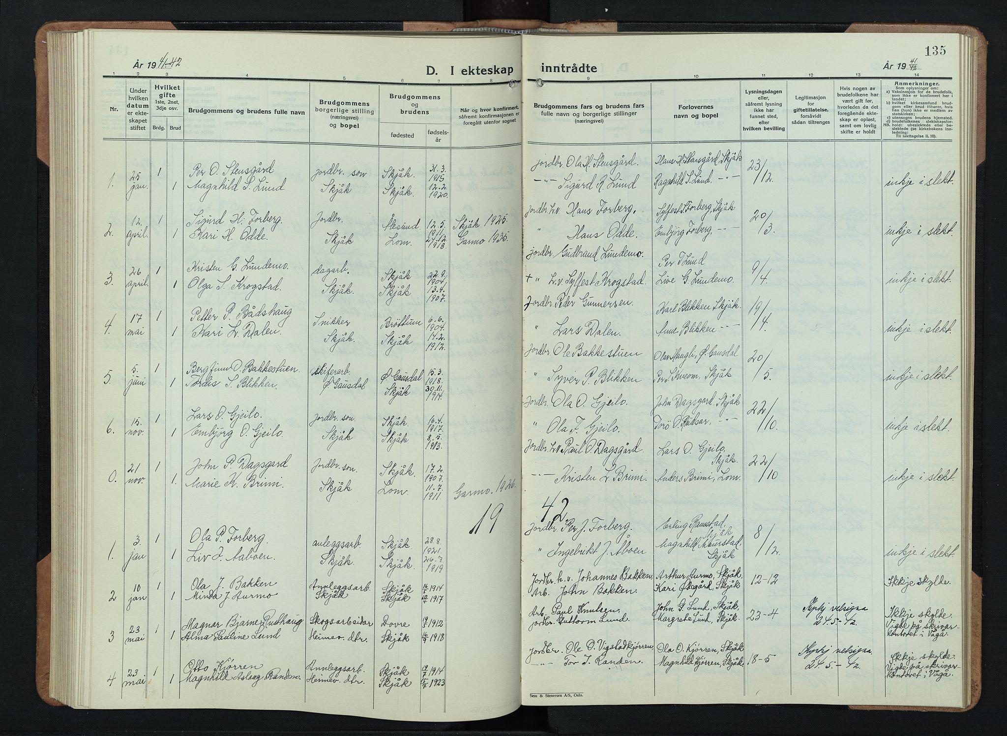 SAH, Skjåk prestekontor, Klokkerbok nr. 6, 1933-1954, s. 135