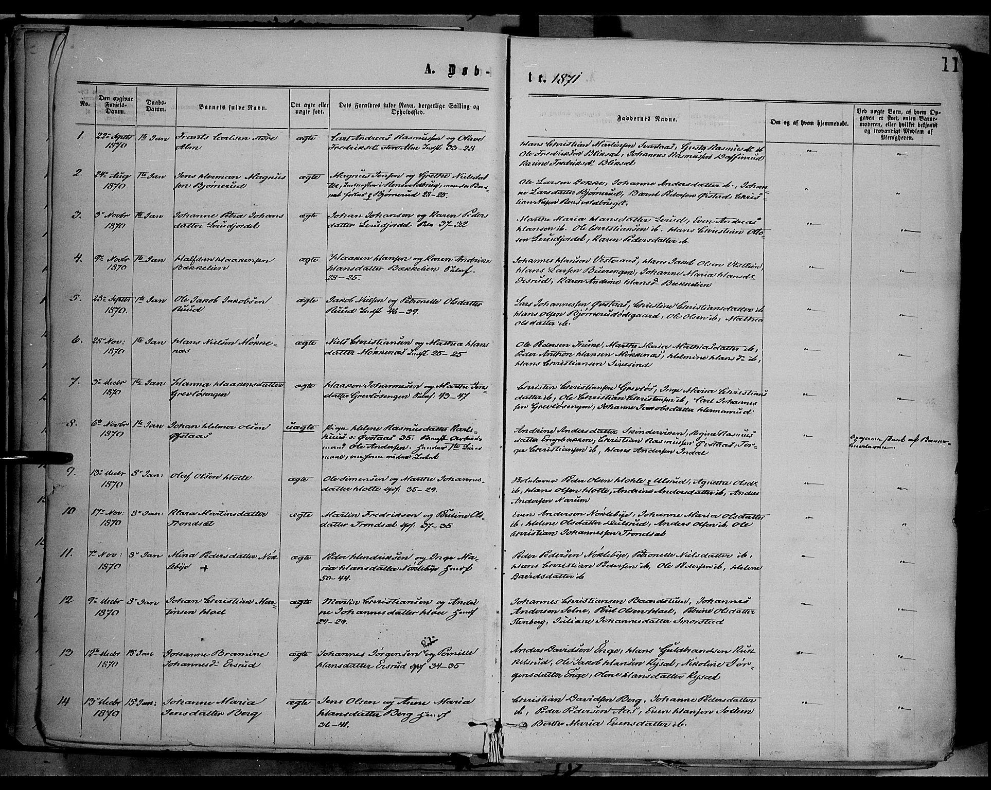 SAH, Vestre Toten prestekontor, Ministerialbok nr. 8, 1870-1877, s. 11