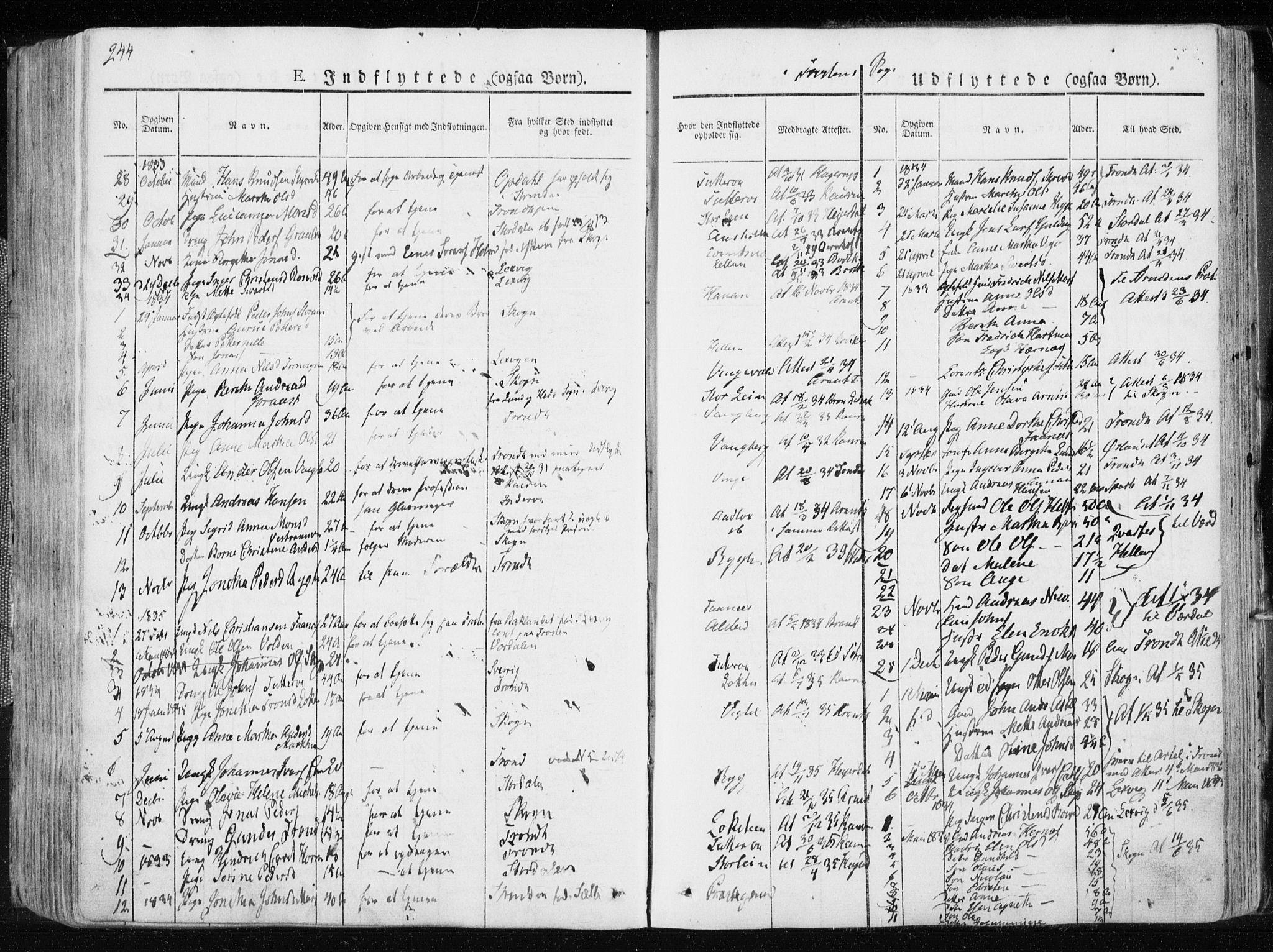 SAT, Ministerialprotokoller, klokkerbøker og fødselsregistre - Nord-Trøndelag, 713/L0114: Ministerialbok nr. 713A05, 1827-1839, s. 244