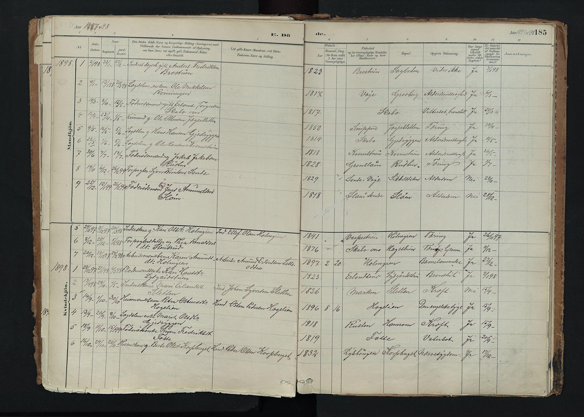 SAH, Nord-Fron prestekontor, Ministerialbok nr. 5, 1884-1914, s. 185