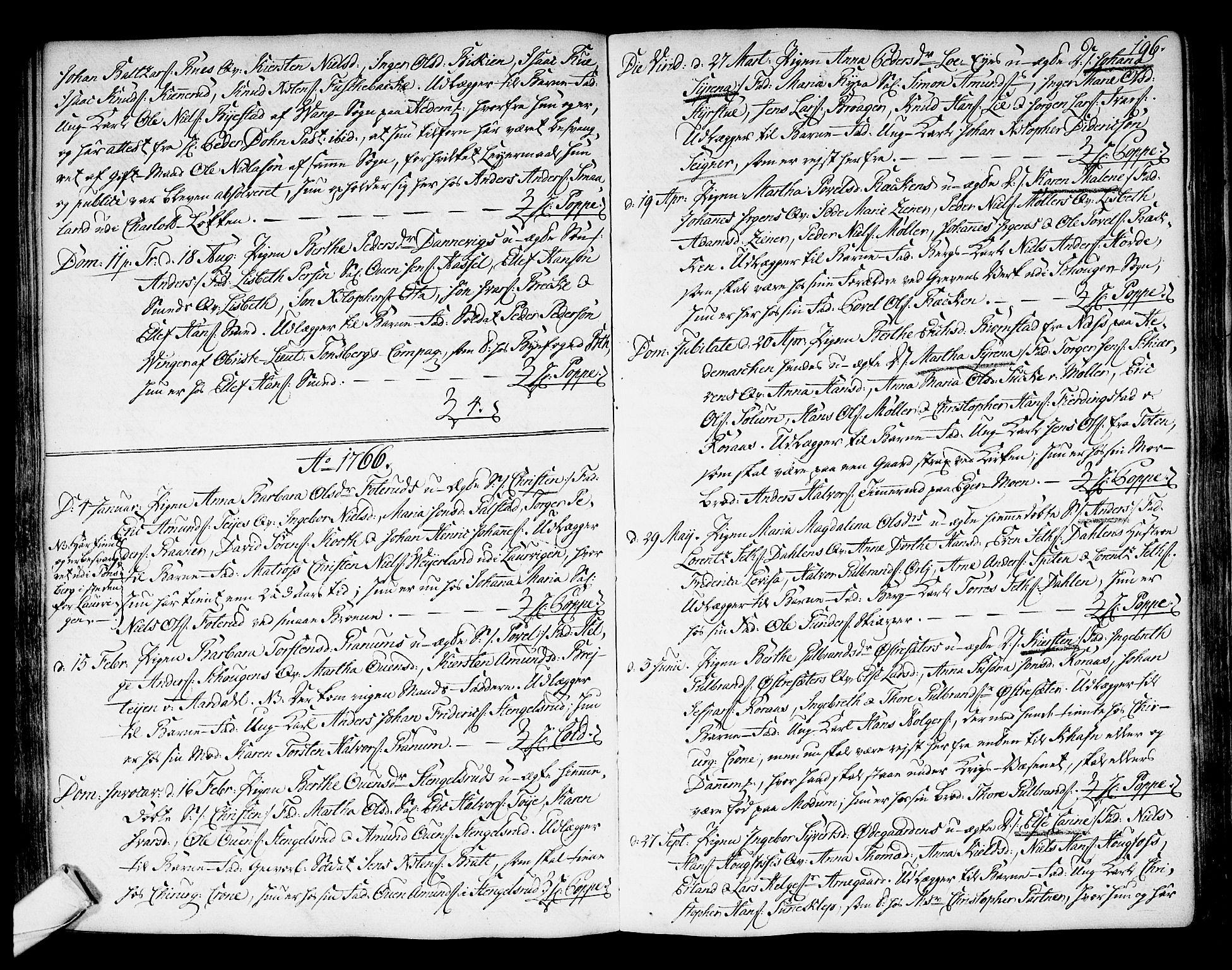 SAKO, Kongsberg kirkebøker, F/Fa/L0004: Ministerialbok nr. I 4, 1756-1768, s. 196