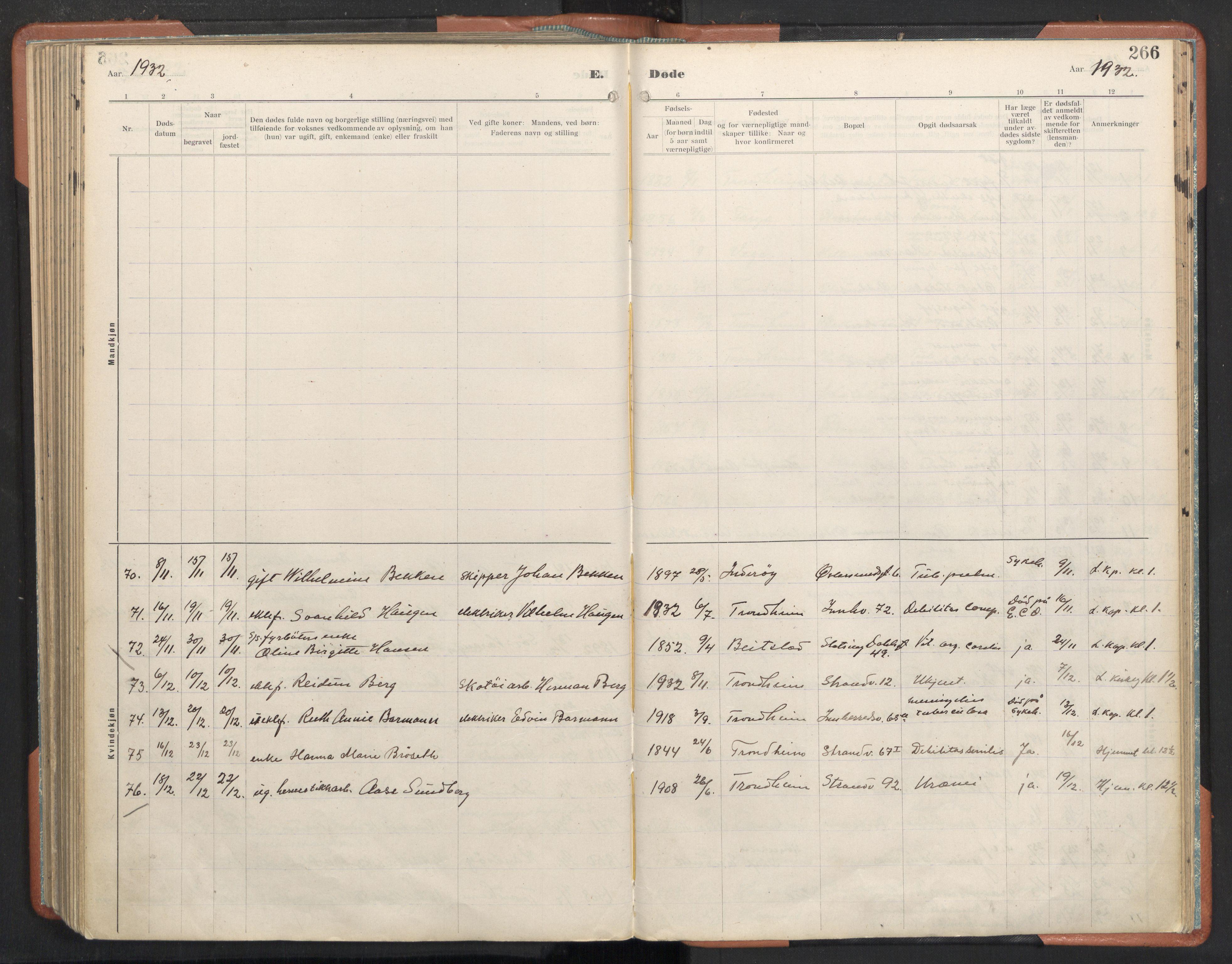 SAT, Ministerialprotokoller, klokkerbøker og fødselsregistre - Sør-Trøndelag, 605/L0245: Ministerialbok nr. 605A07, 1916-1938, s. 266