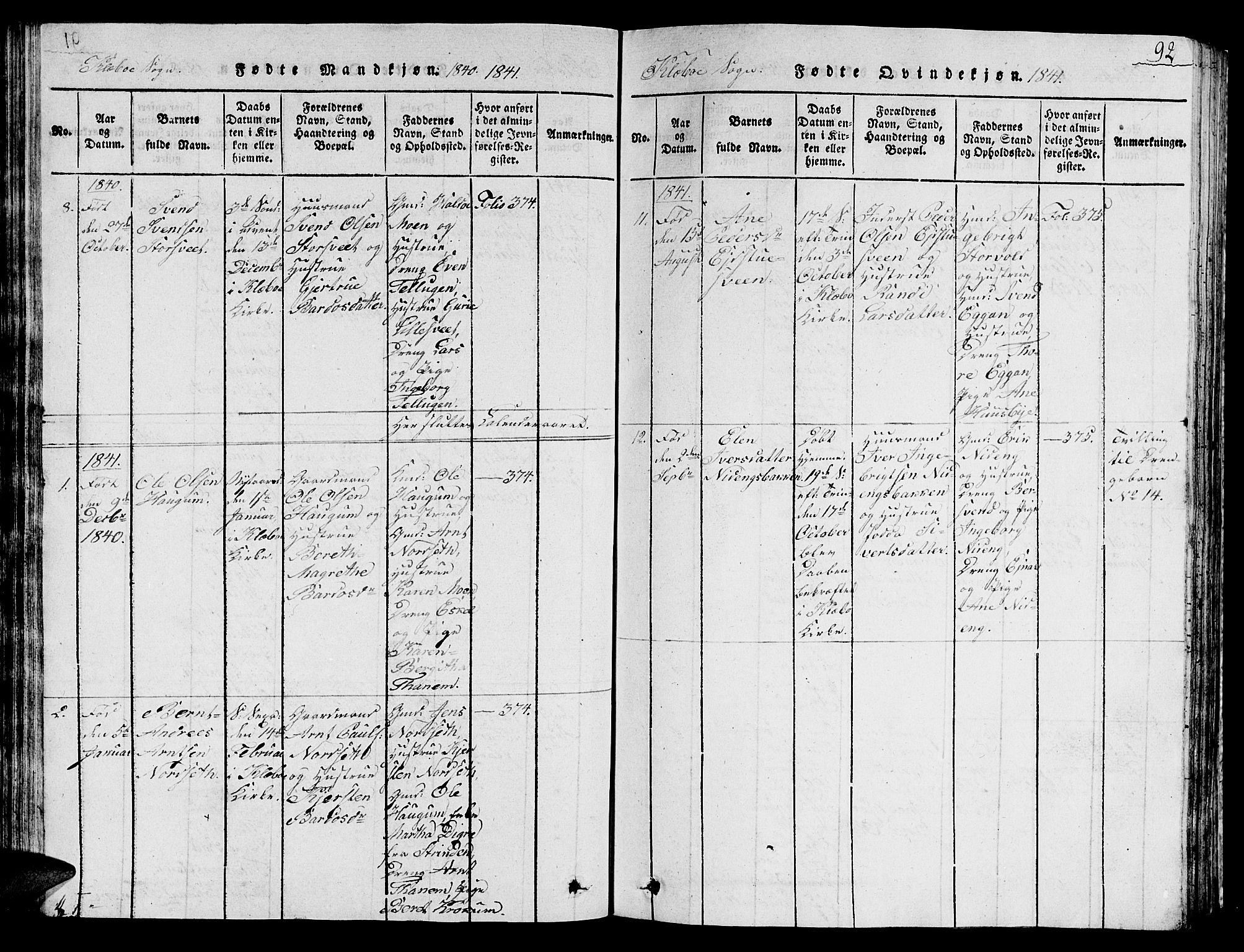 SAT, Ministerialprotokoller, klokkerbøker og fødselsregistre - Sør-Trøndelag, 618/L0450: Klokkerbok nr. 618C01, 1816-1865, s. 92