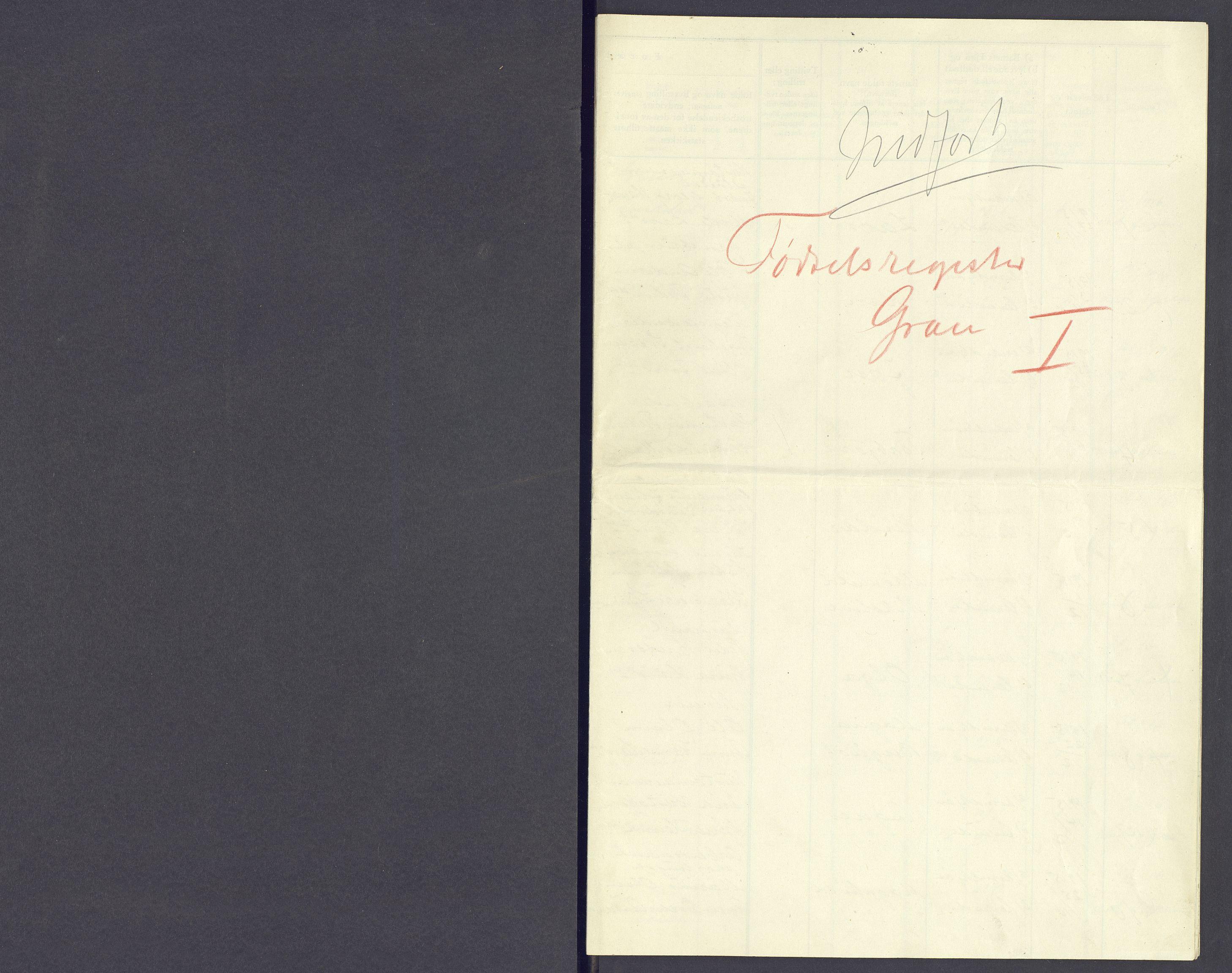 SAH, Gran prestekontor, Fødselsregister nr. -, 1916-1916