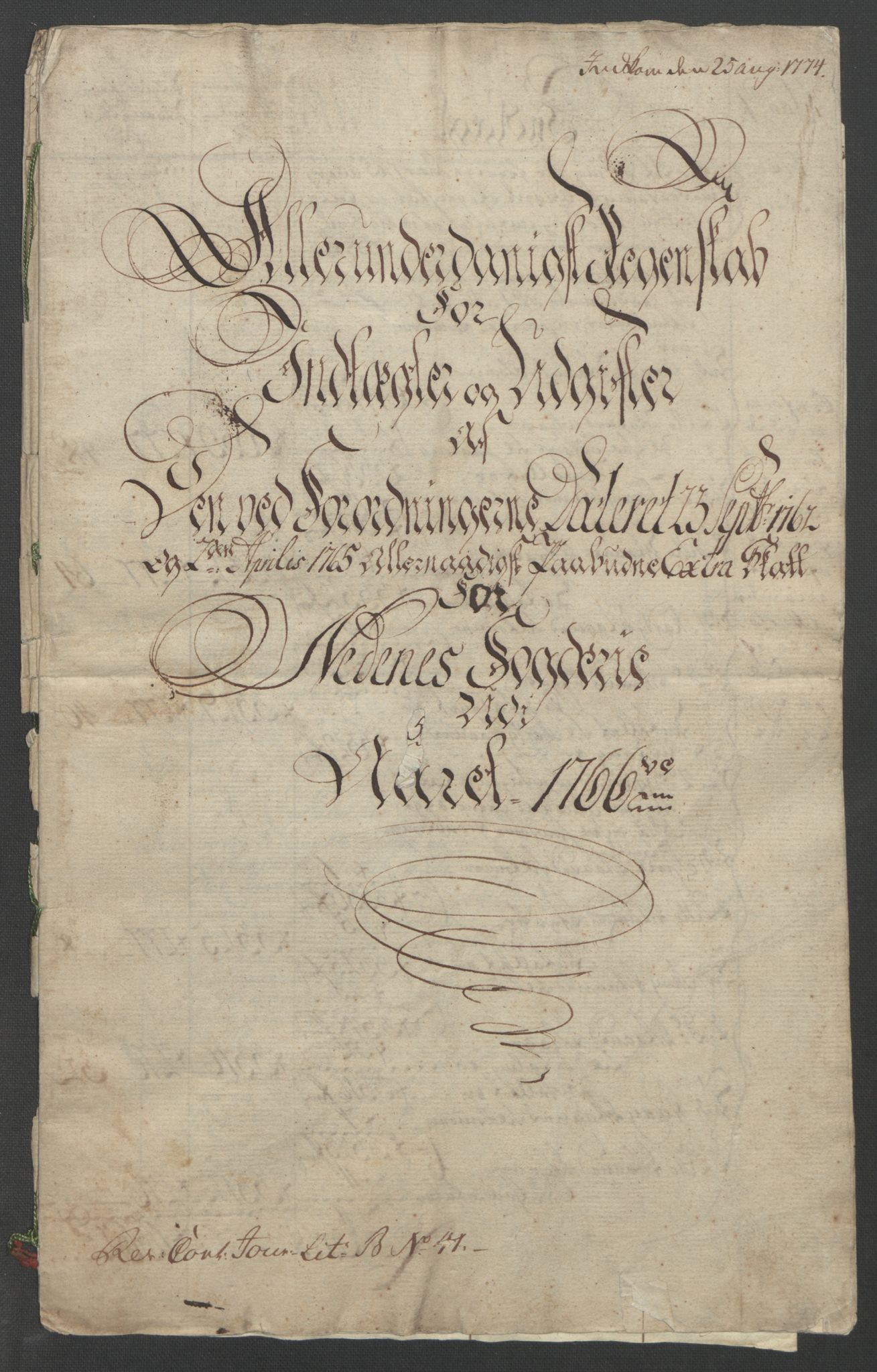 RA, Rentekammeret inntil 1814, Reviderte regnskaper, Fogderegnskap, R39/L2424: Ekstraskatten Nedenes, 1762-1767, s. 143