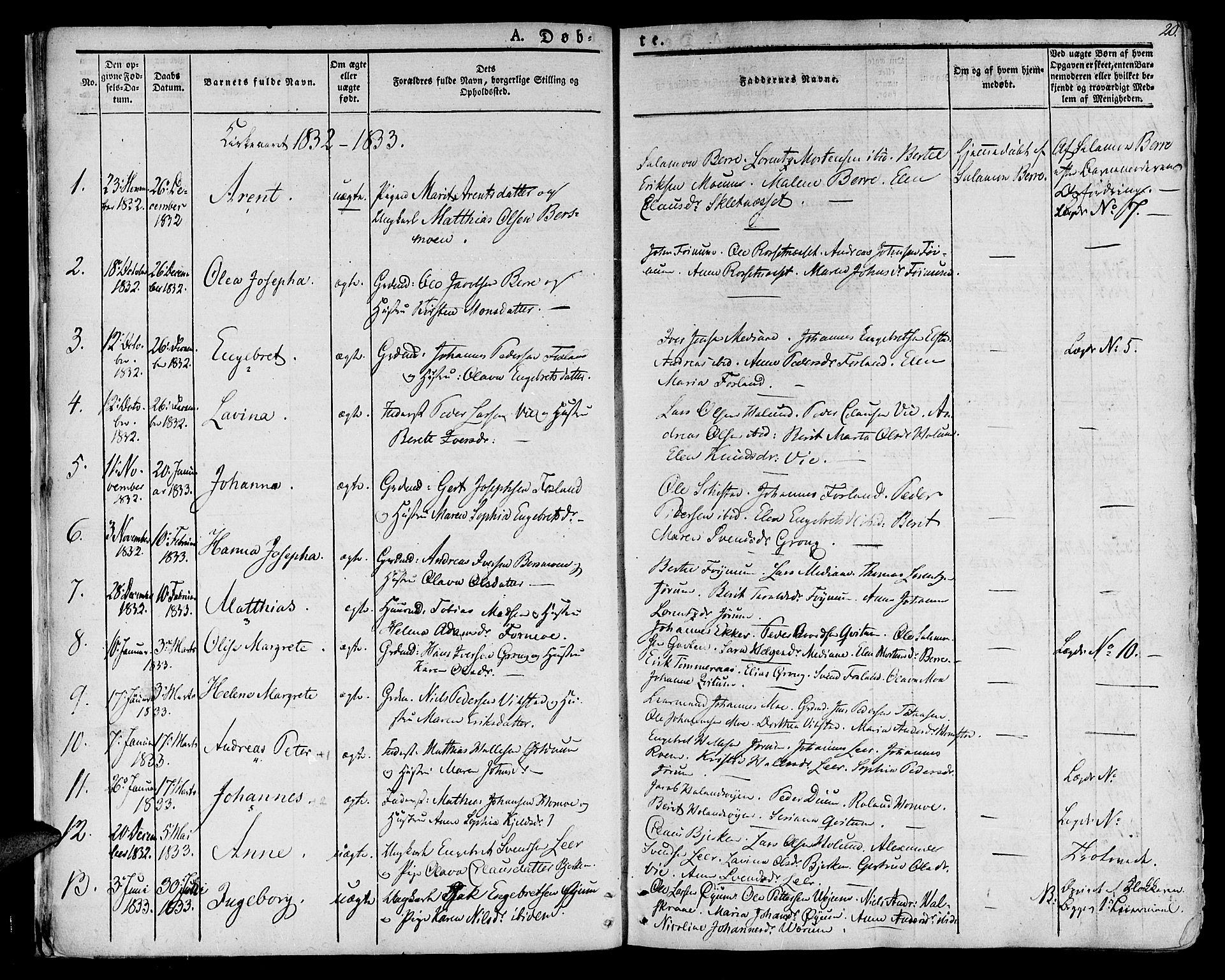 SAT, Ministerialprotokoller, klokkerbøker og fødselsregistre - Nord-Trøndelag, 758/L0510: Ministerialbok nr. 758A01 /1, 1821-1841, s. 20
