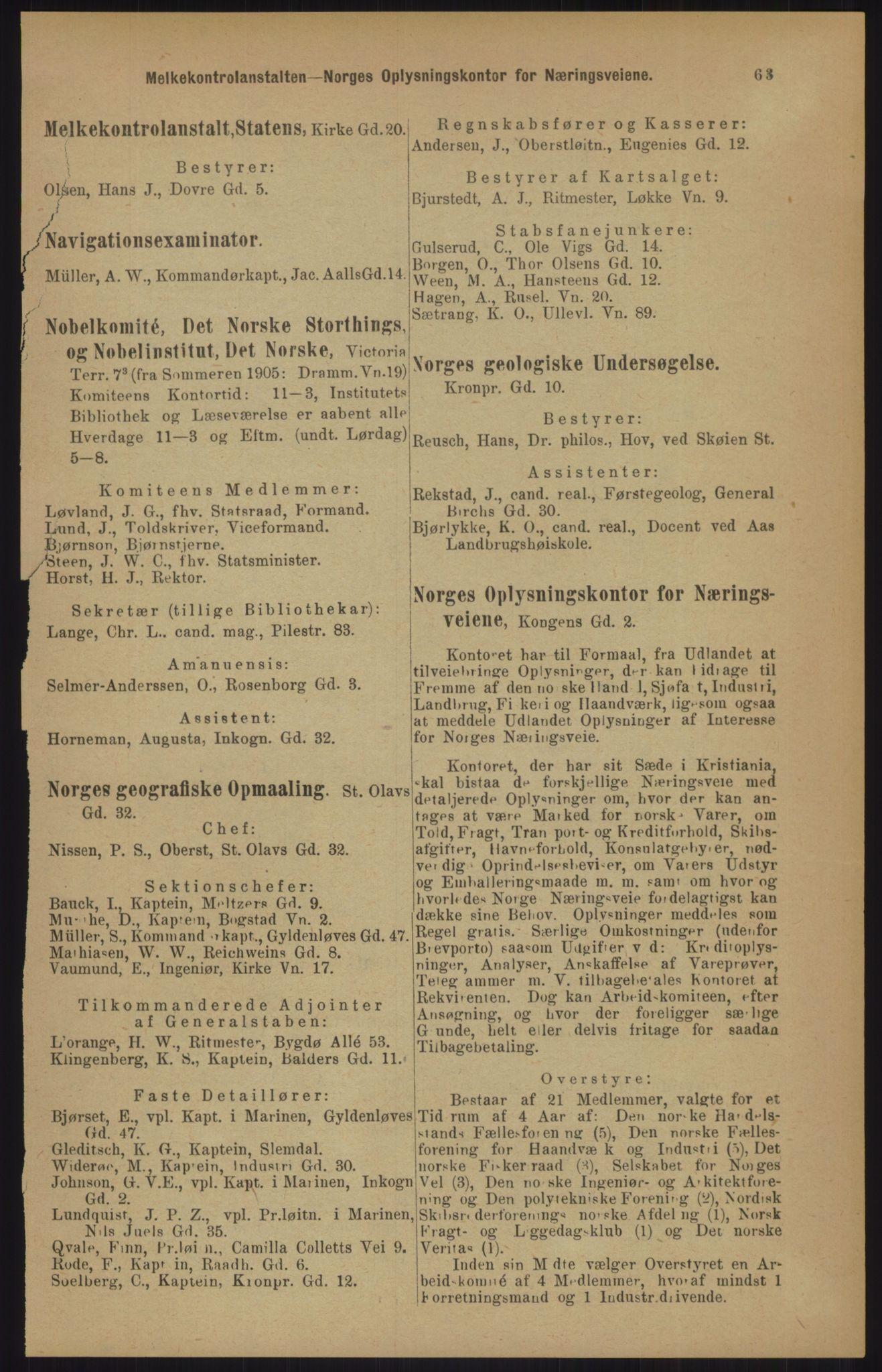 RA, Kristiania adressebok (publikasjon)*, 1905, s. 63
