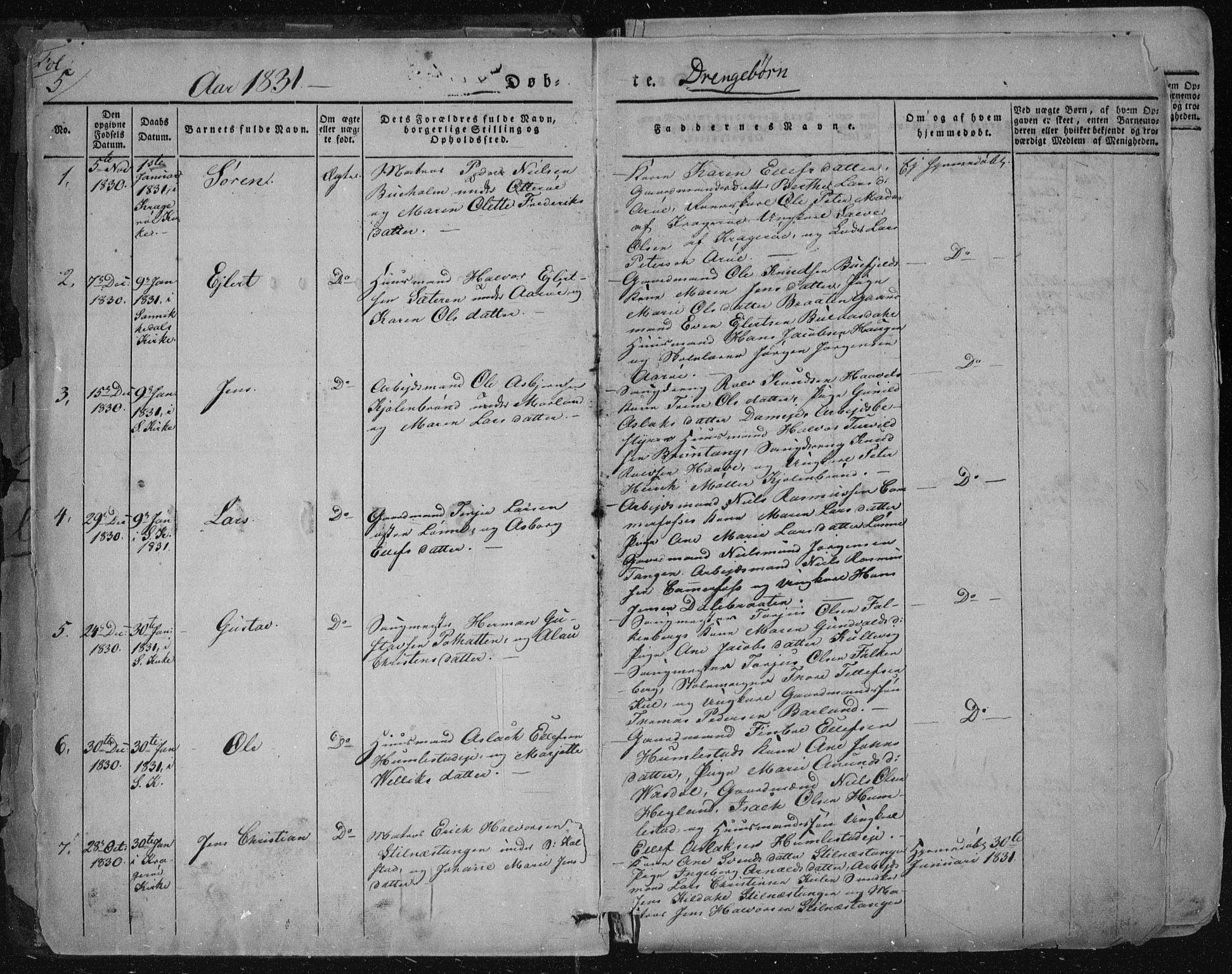 SAKO, Sannidal kirkebøker, F/Fa/L0006: Ministerialbok nr. 6, 1831-1847, s. 5