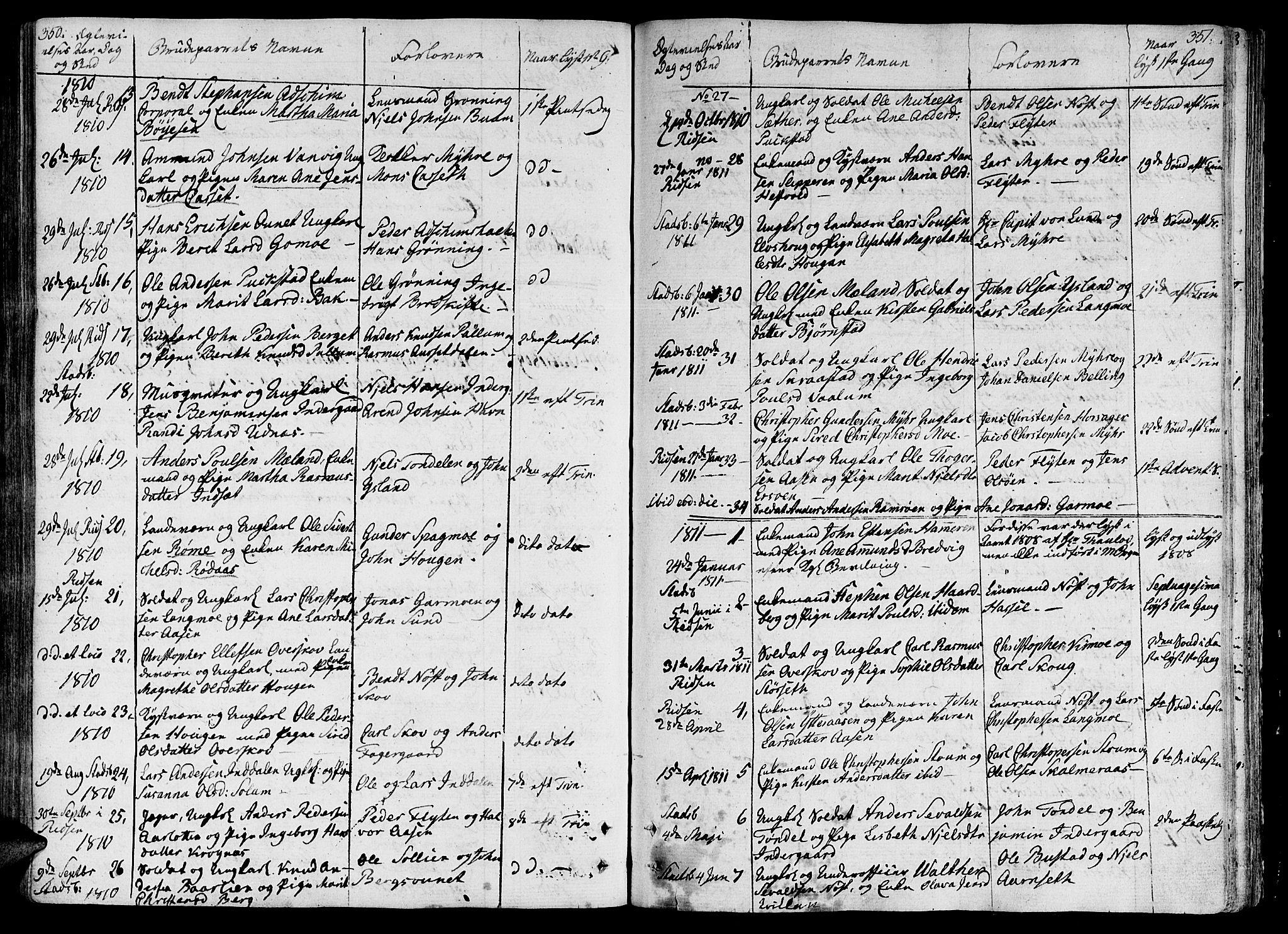 SAT, Ministerialprotokoller, klokkerbøker og fødselsregistre - Sør-Trøndelag, 646/L0607: Ministerialbok nr. 646A05, 1806-1815, s. 350-351