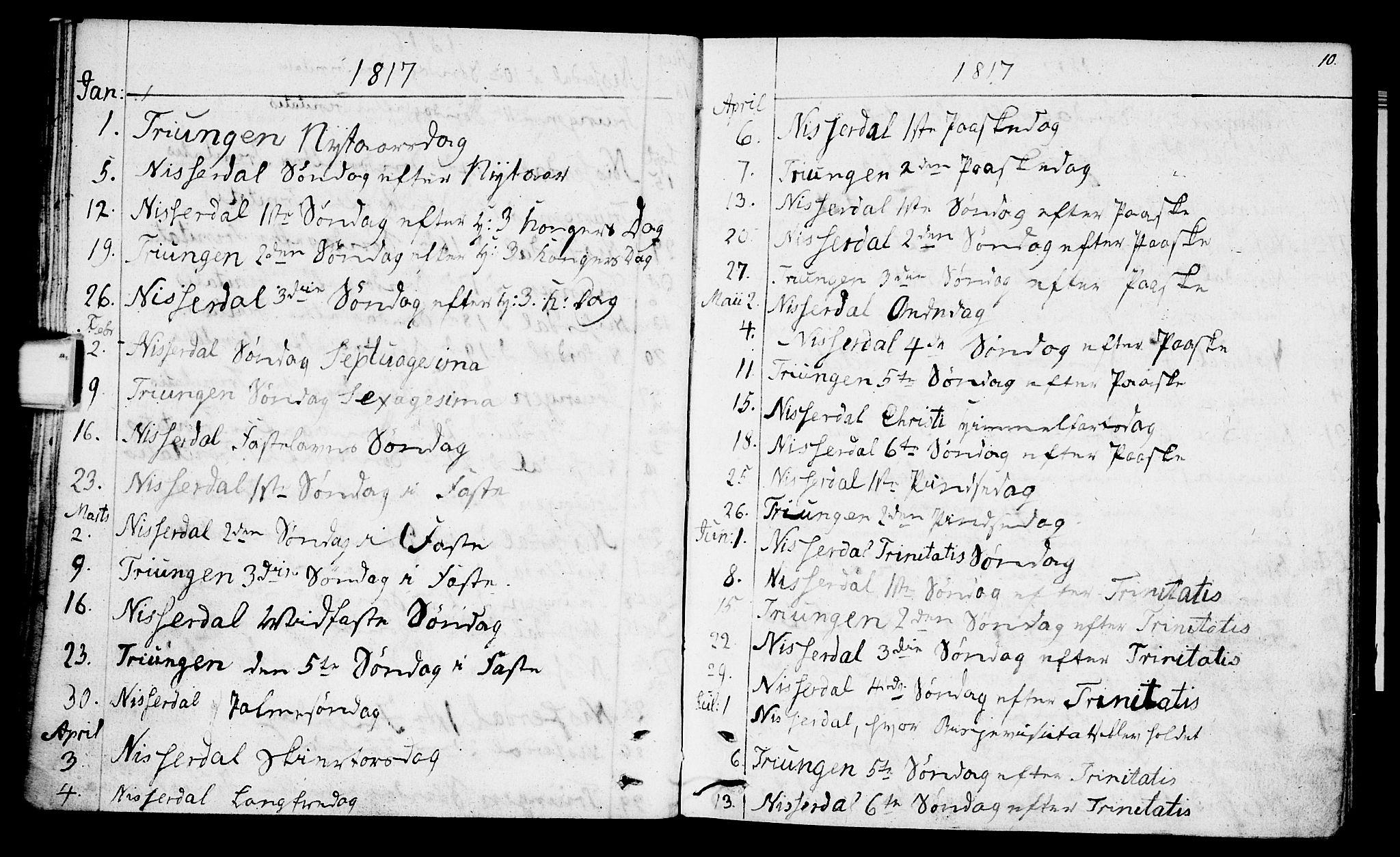 SAKO, Nissedal kirkebøker, F/Fa/L0001: Ministerialbok nr. I 1, 1811-1814, s. 10