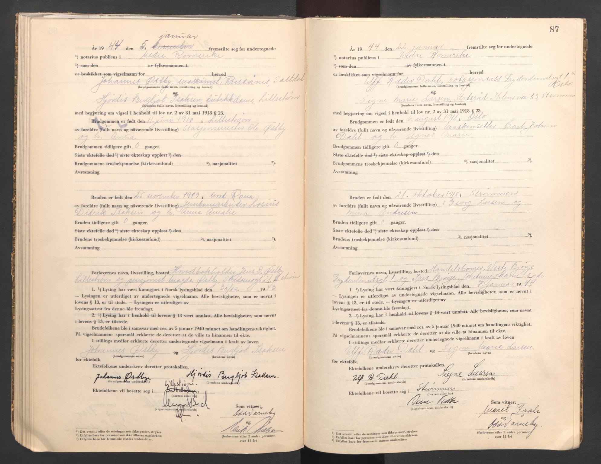 SAO, Nedre Romerike sorenskriveri, L/Lb/L0004: Vigselsbok - borgerlige vielser, 1943-1944, s. 87