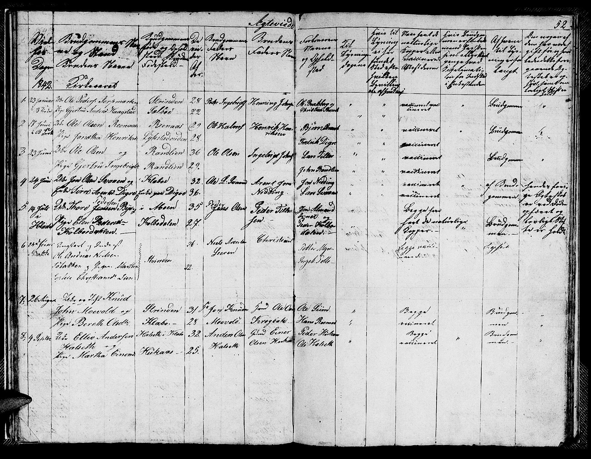 SAT, Ministerialprotokoller, klokkerbøker og fødselsregistre - Sør-Trøndelag, 608/L0338: Klokkerbok nr. 608C04, 1831-1843, s. 52