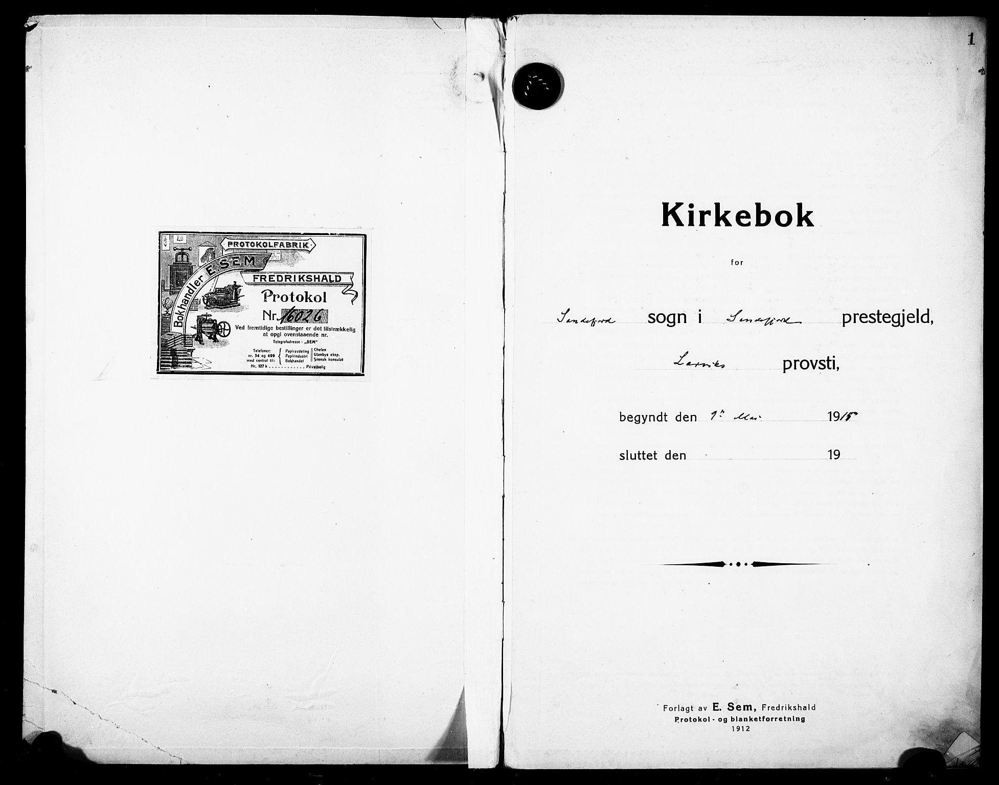 SAKO, Sandefjord kirkebøker, F/Fa/L0006: Ministerialbok nr. 6, 1915-1930, s. 1