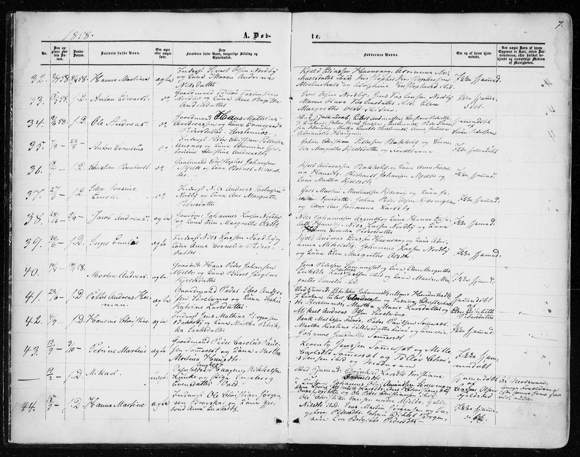 SATØ, Balsfjord sokneprestembete, G/Ga/L0001kirke: Ministerialbok nr. 1, 1858-1870, s. 7