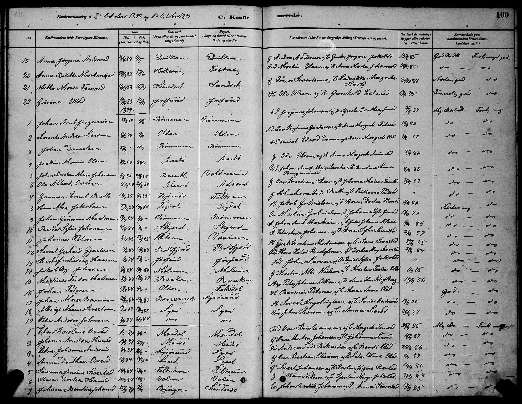 SAT, Ministerialprotokoller, klokkerbøker og fødselsregistre - Sør-Trøndelag, 654/L0665: Klokkerbok nr. 654C01, 1879-1901, s. 100