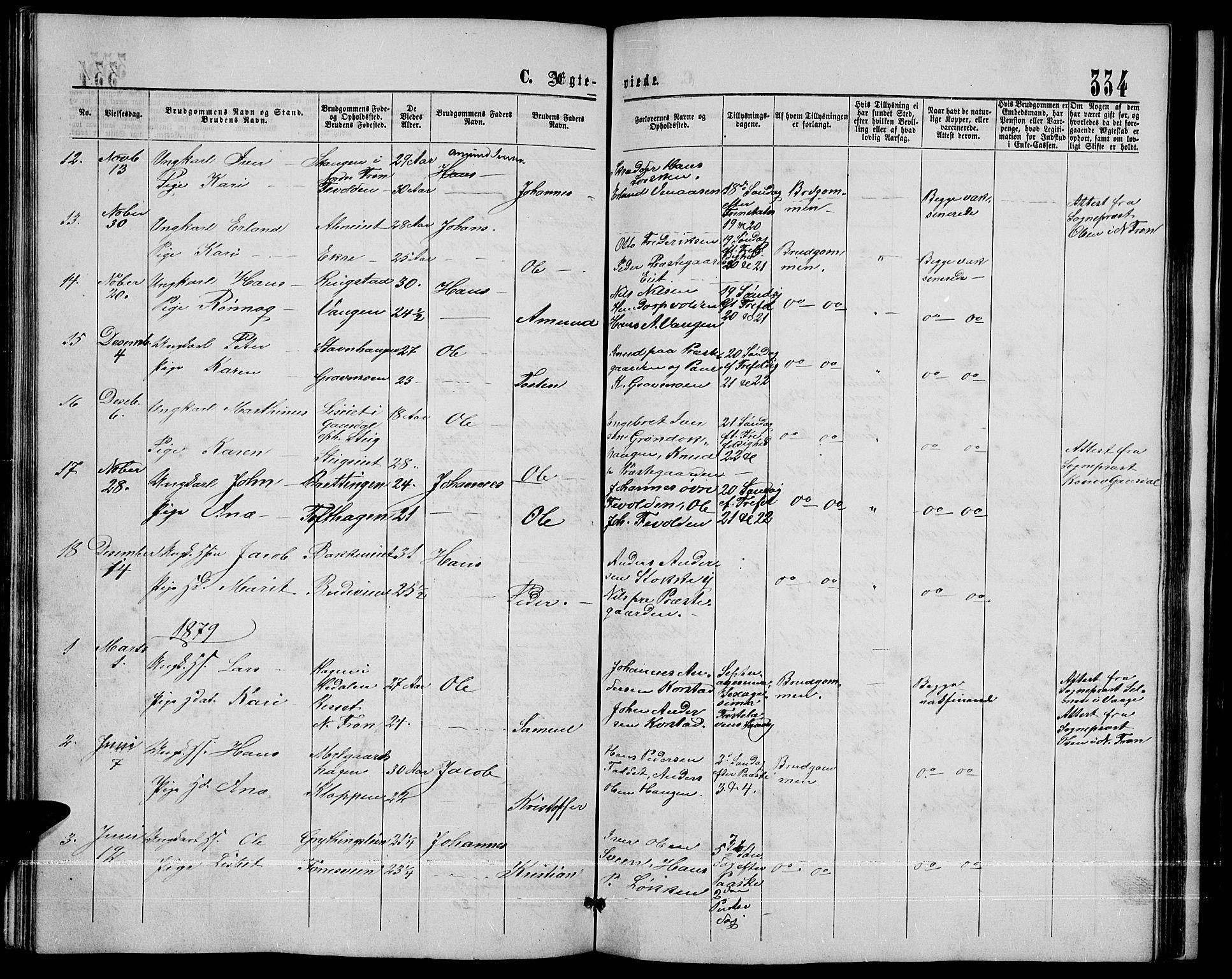 SAH, Sør-Fron prestekontor, H/Ha/Hab/L0002: Klokkerbok nr. 2, 1864-1883, s. 334