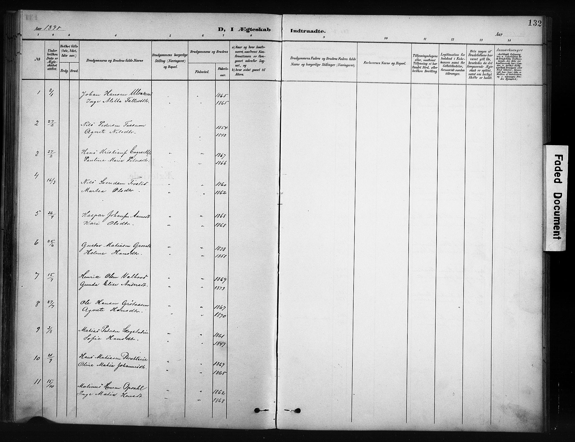 SAH, Nordre Land prestekontor, Klokkerbok nr. 12, 1891-1909, s. 132