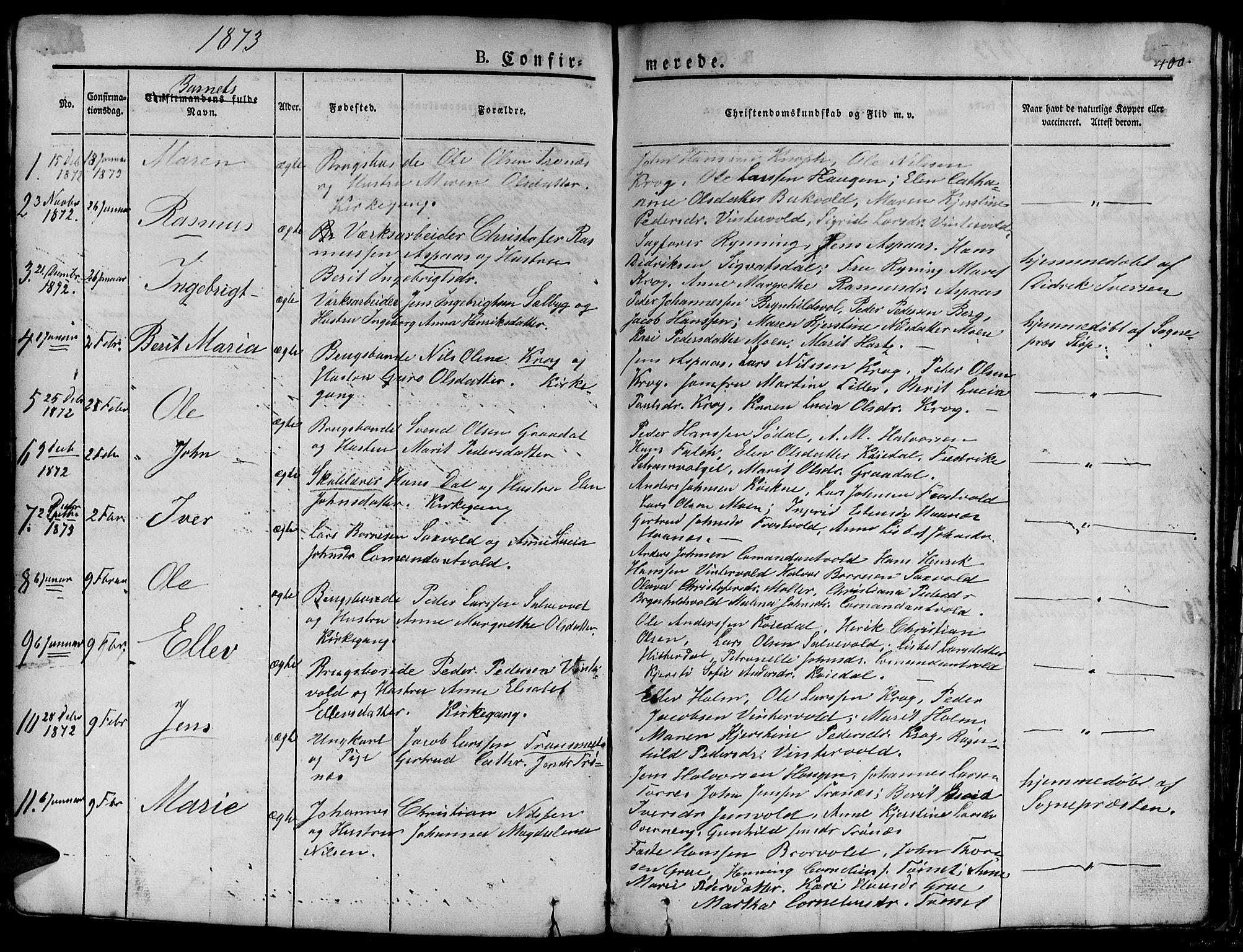 SAT, Ministerialprotokoller, klokkerbøker og fødselsregistre - Sør-Trøndelag, 681/L0938: Klokkerbok nr. 681C02, 1829-1879, s. 400