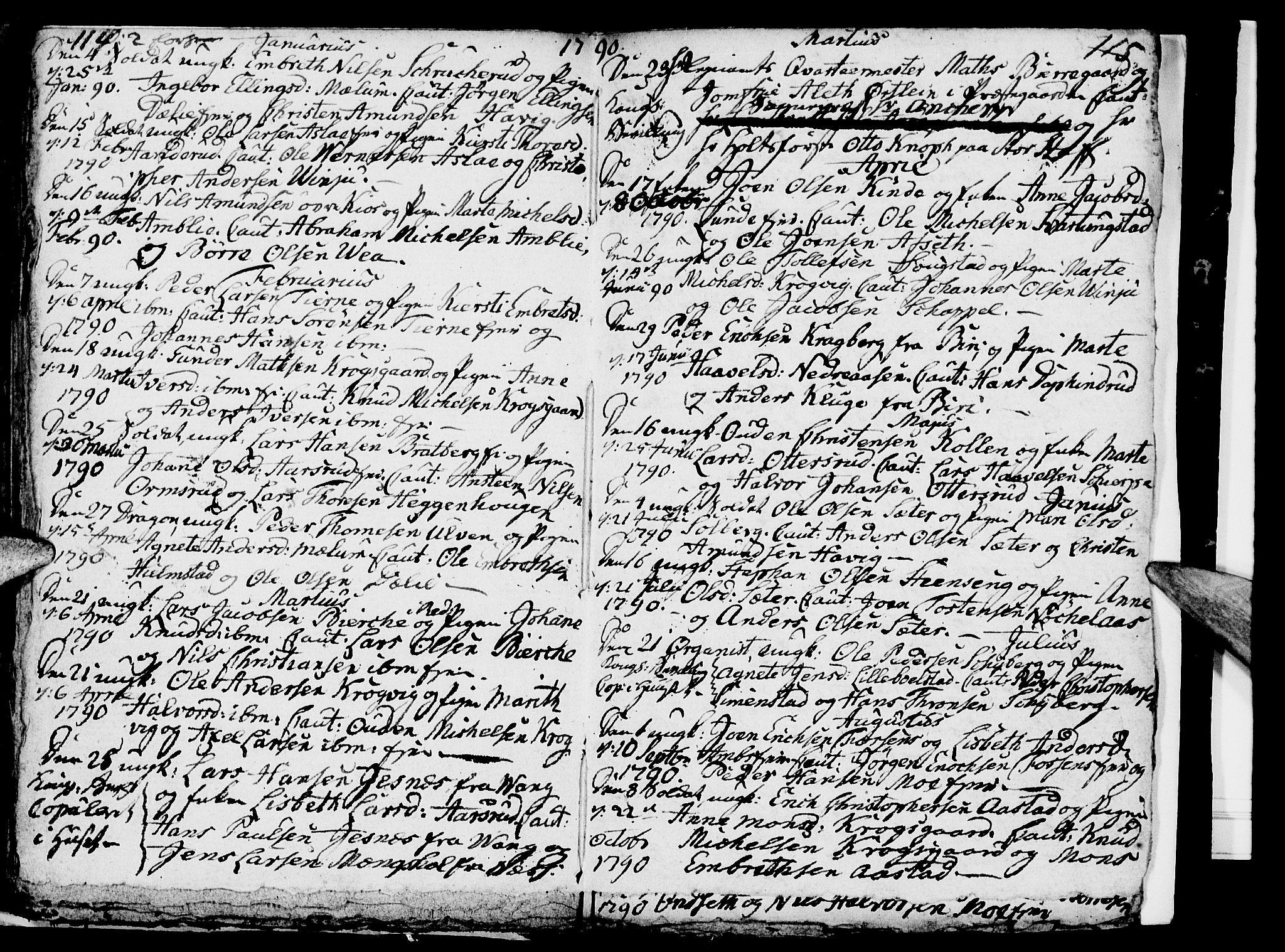 SAH, Ringsaker prestekontor, I/Ia/L0005/0005: Kladd til kirkebok nr. 1E, 1790-1792, s. 114-115