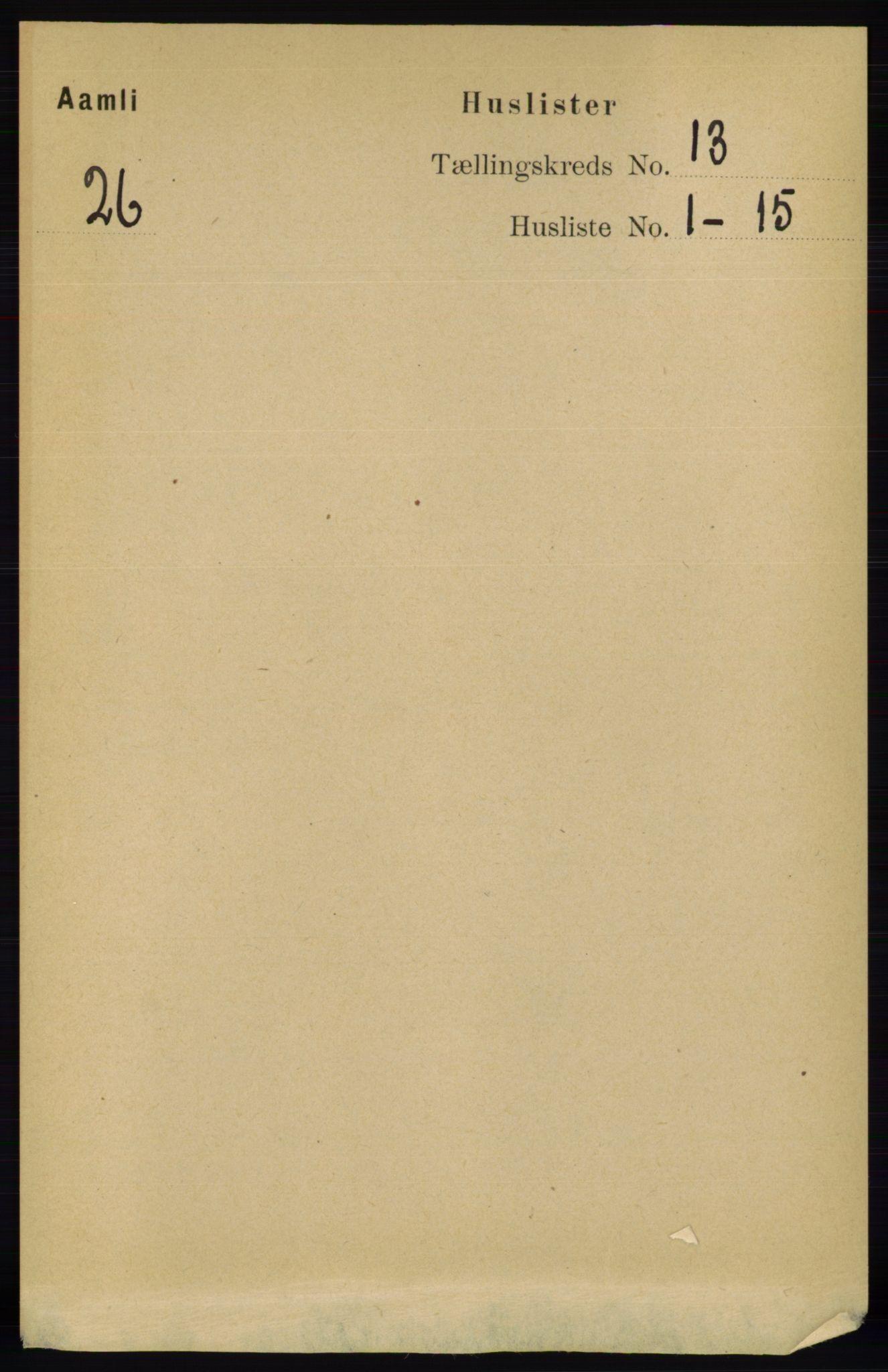RA, Folketelling 1891 for 0929 Åmli herred, 1891, s. 2131