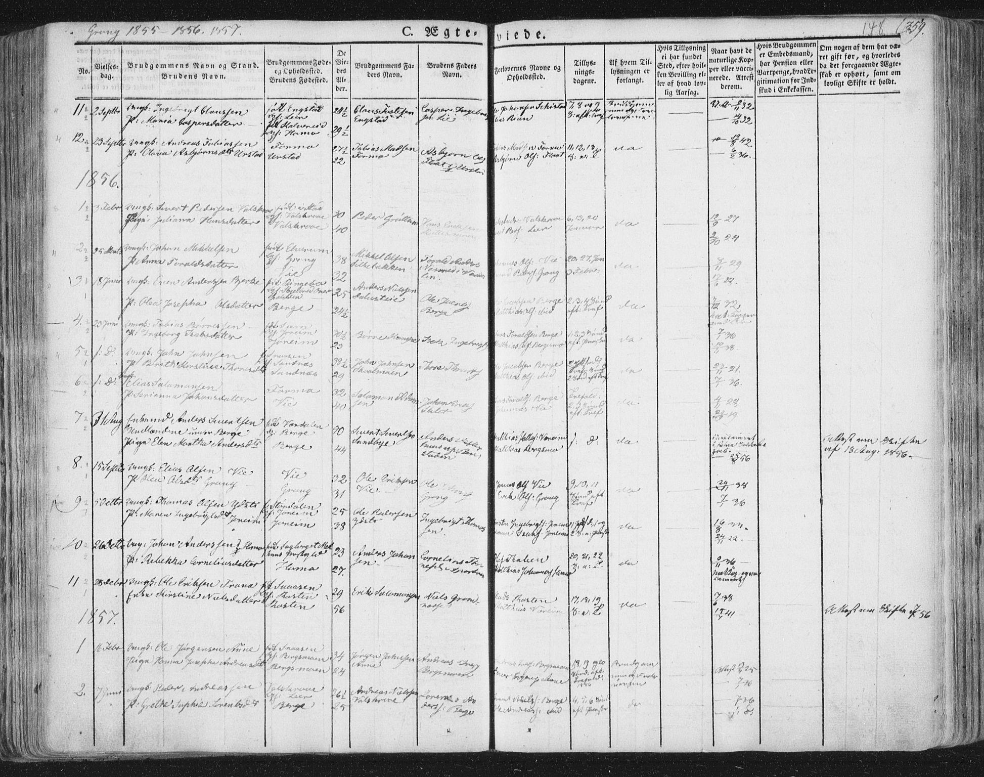 SAT, Ministerialprotokoller, klokkerbøker og fødselsregistre - Nord-Trøndelag, 758/L0513: Ministerialbok nr. 758A02 /1, 1839-1868, s. 148