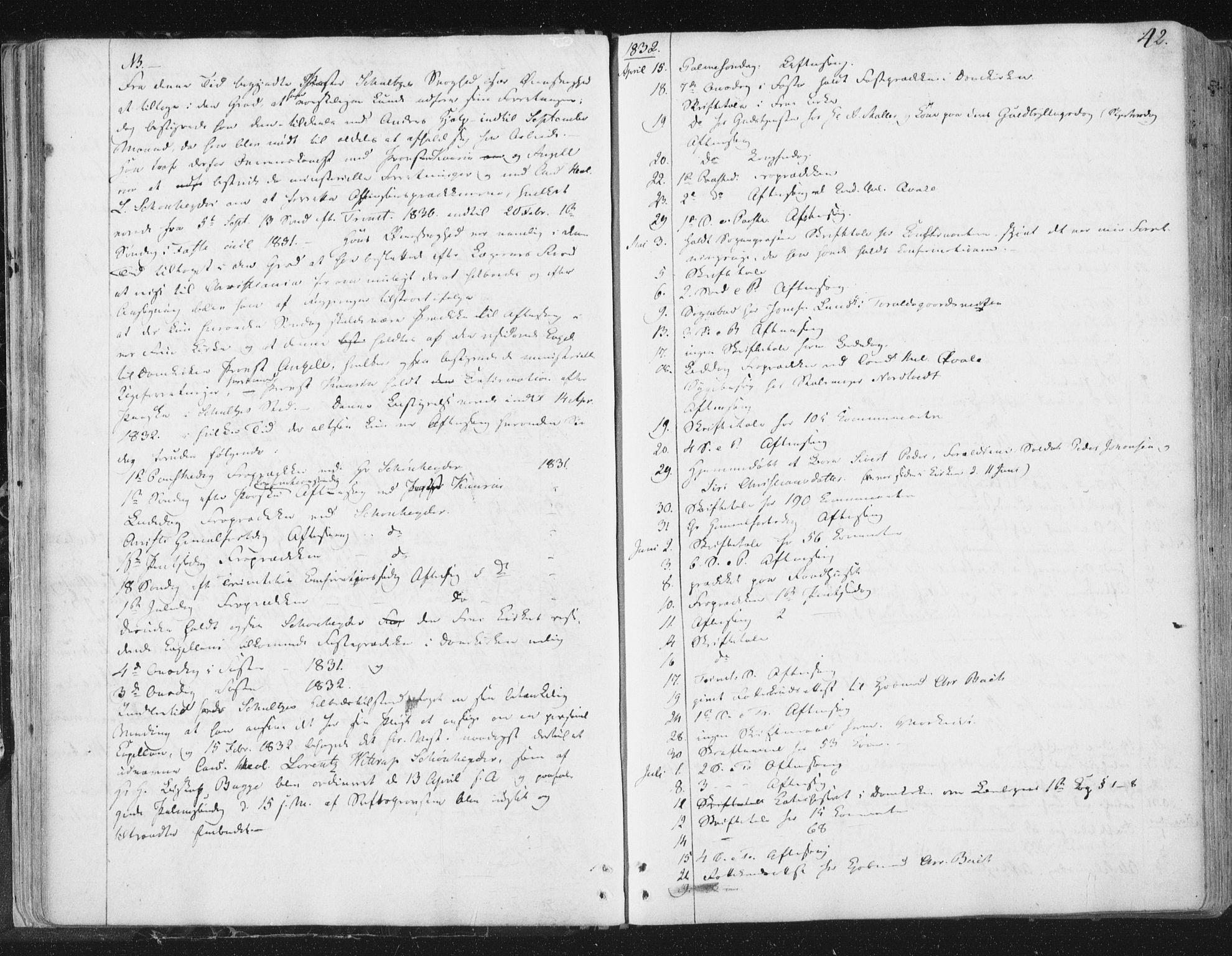 SAT, Ministerialprotokoller, klokkerbøker og fødselsregistre - Sør-Trøndelag, 602/L0127: Residerende kapellans bok nr. 602B01, 1821-1875, s. 42