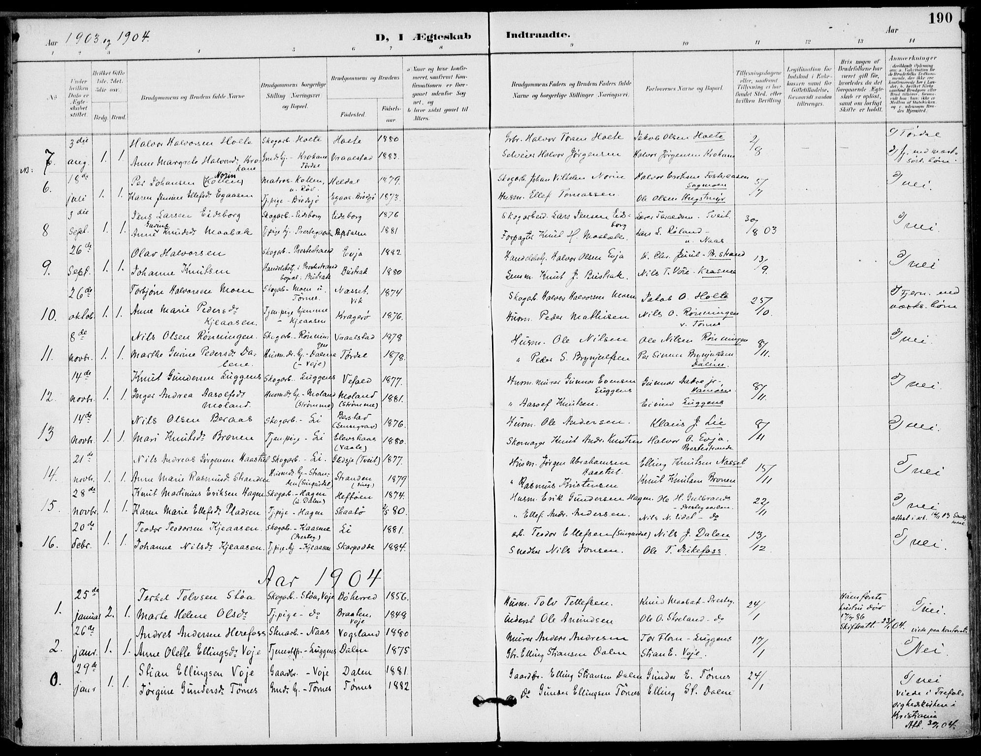 SAKO, Drangedal kirkebøker, F/Fa/L0012: Ministerialbok nr. 12, 1895-1905, s. 190