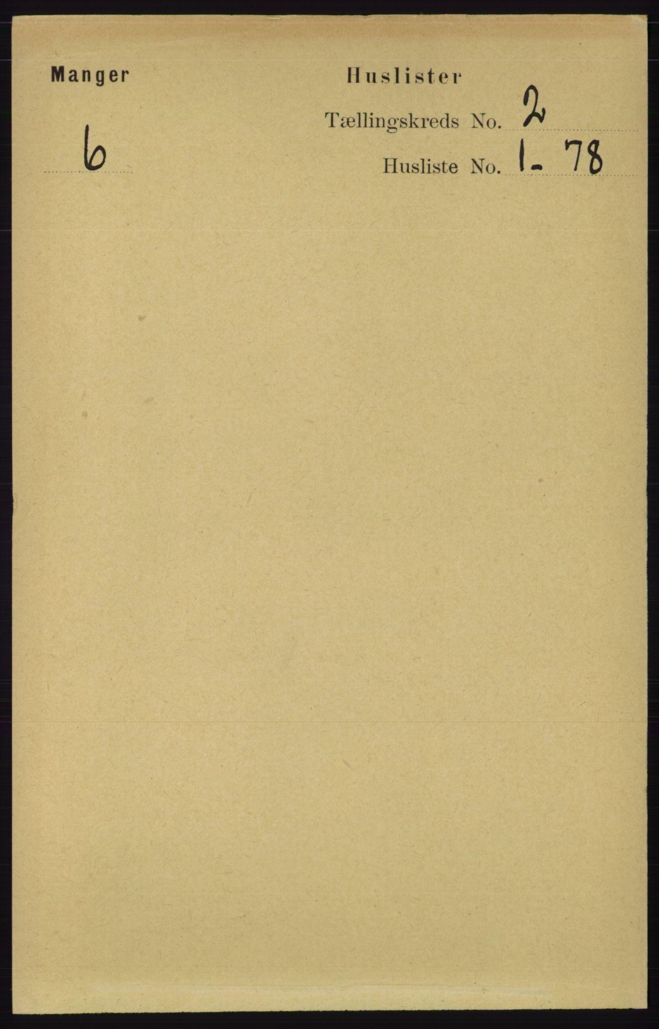 RA, Folketelling 1891 for 1261 Manger herred, 1891, s. 677