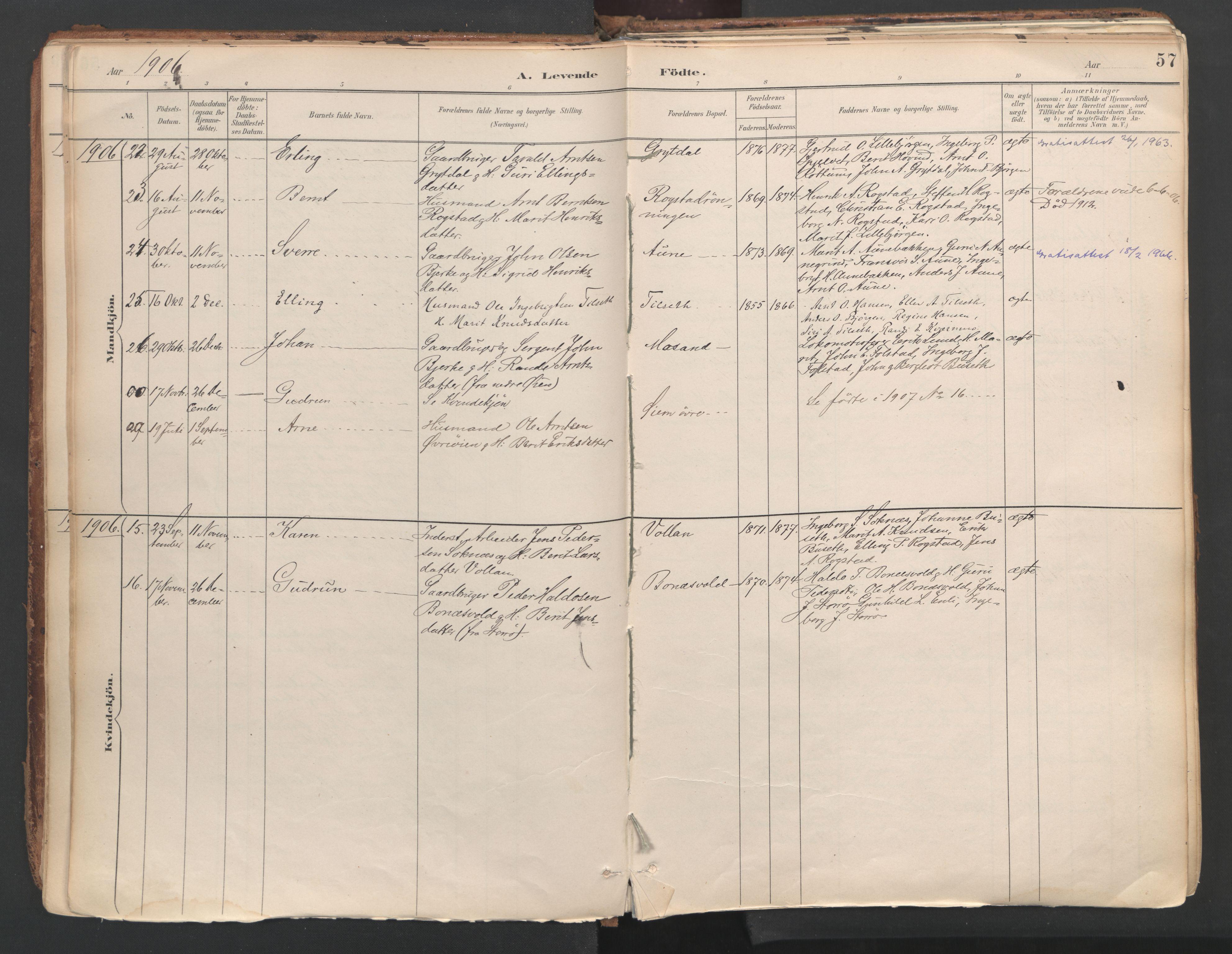 SAT, Ministerialprotokoller, klokkerbøker og fødselsregistre - Sør-Trøndelag, 687/L1004: Ministerialbok nr. 687A10, 1891-1923, s. 57