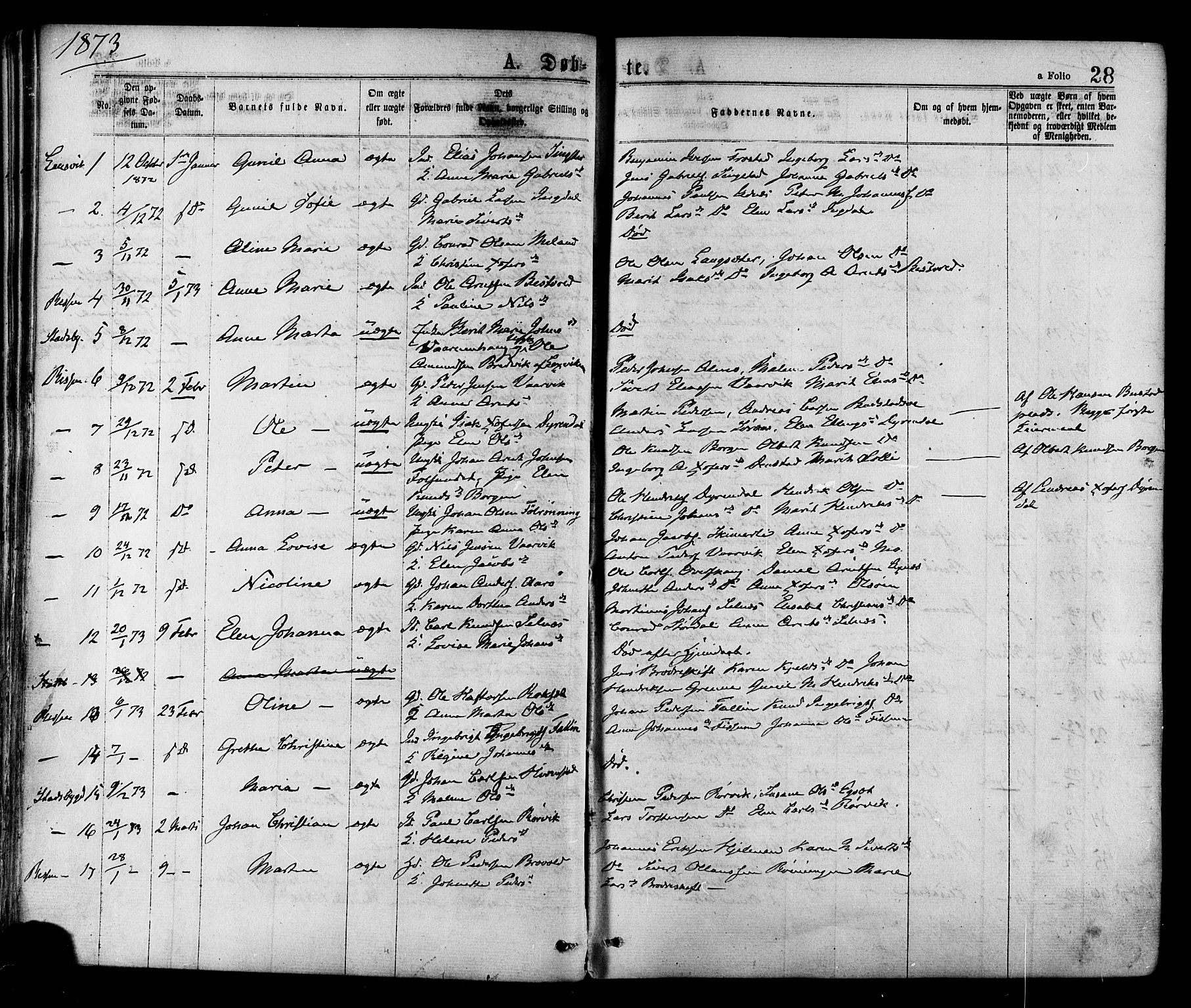 SAT, Ministerialprotokoller, klokkerbøker og fødselsregistre - Sør-Trøndelag, 646/L0613: Ministerialbok nr. 646A11, 1870-1884, s. 28