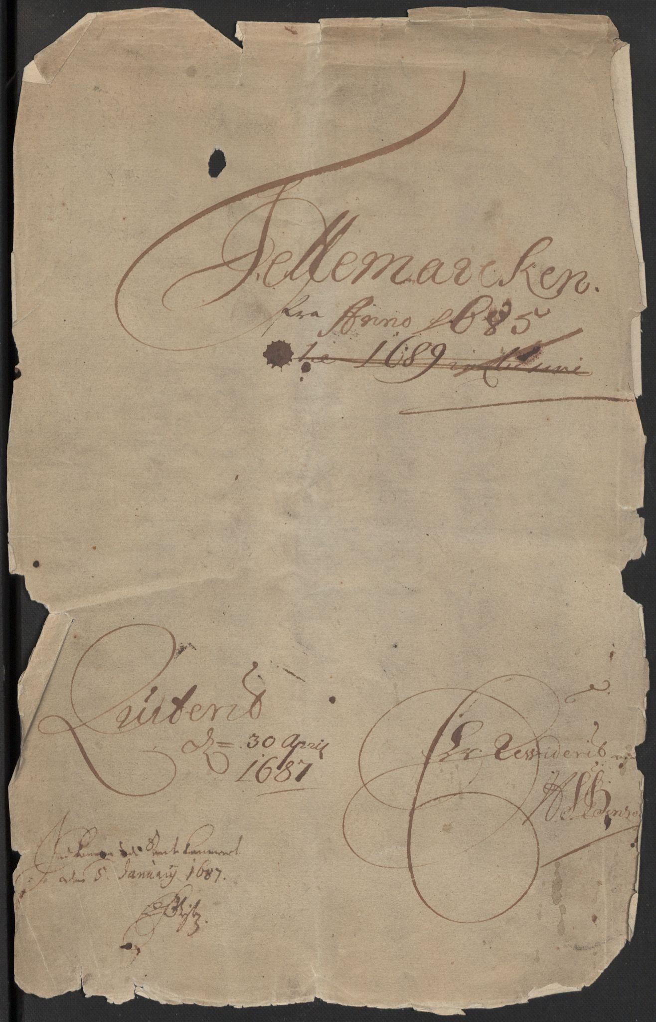 RA, Rentekammeret inntil 1814, Reviderte regnskaper, Fogderegnskap, R35/L2082: Fogderegnskap Øvre og Nedre Telemark, 1685, s. 3