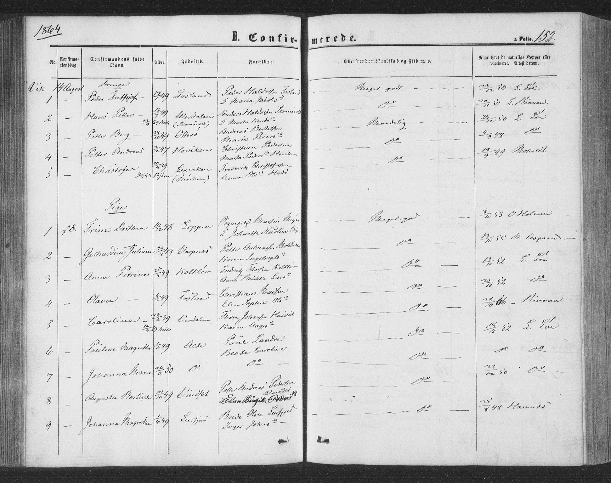 SAT, Ministerialprotokoller, klokkerbøker og fødselsregistre - Nord-Trøndelag, 773/L0615: Ministerialbok nr. 773A06, 1857-1870, s. 152