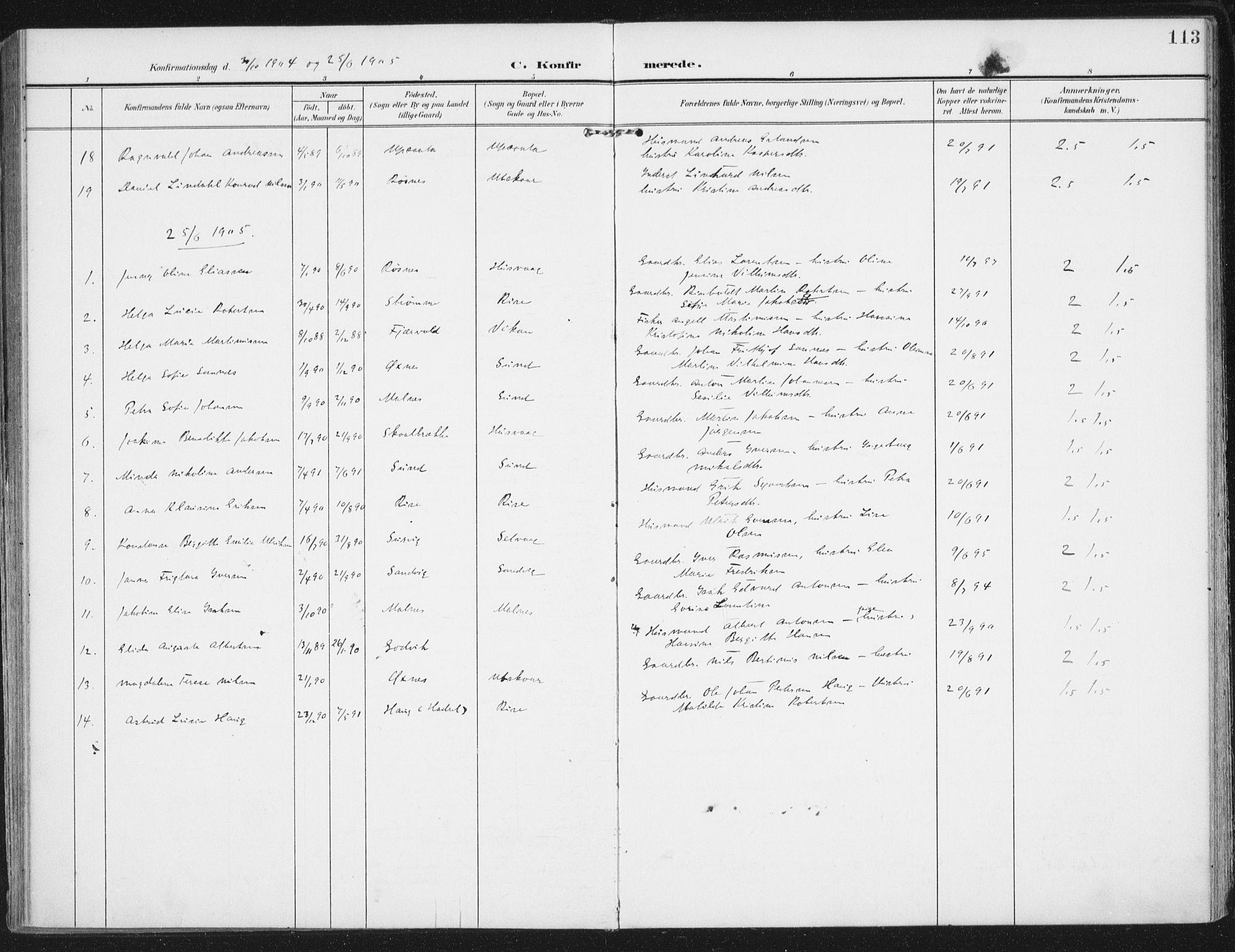 SAT, Ministerialprotokoller, klokkerbøker og fødselsregistre - Nordland, 892/L1321: Ministerialbok nr. 892A02, 1902-1918, s. 113